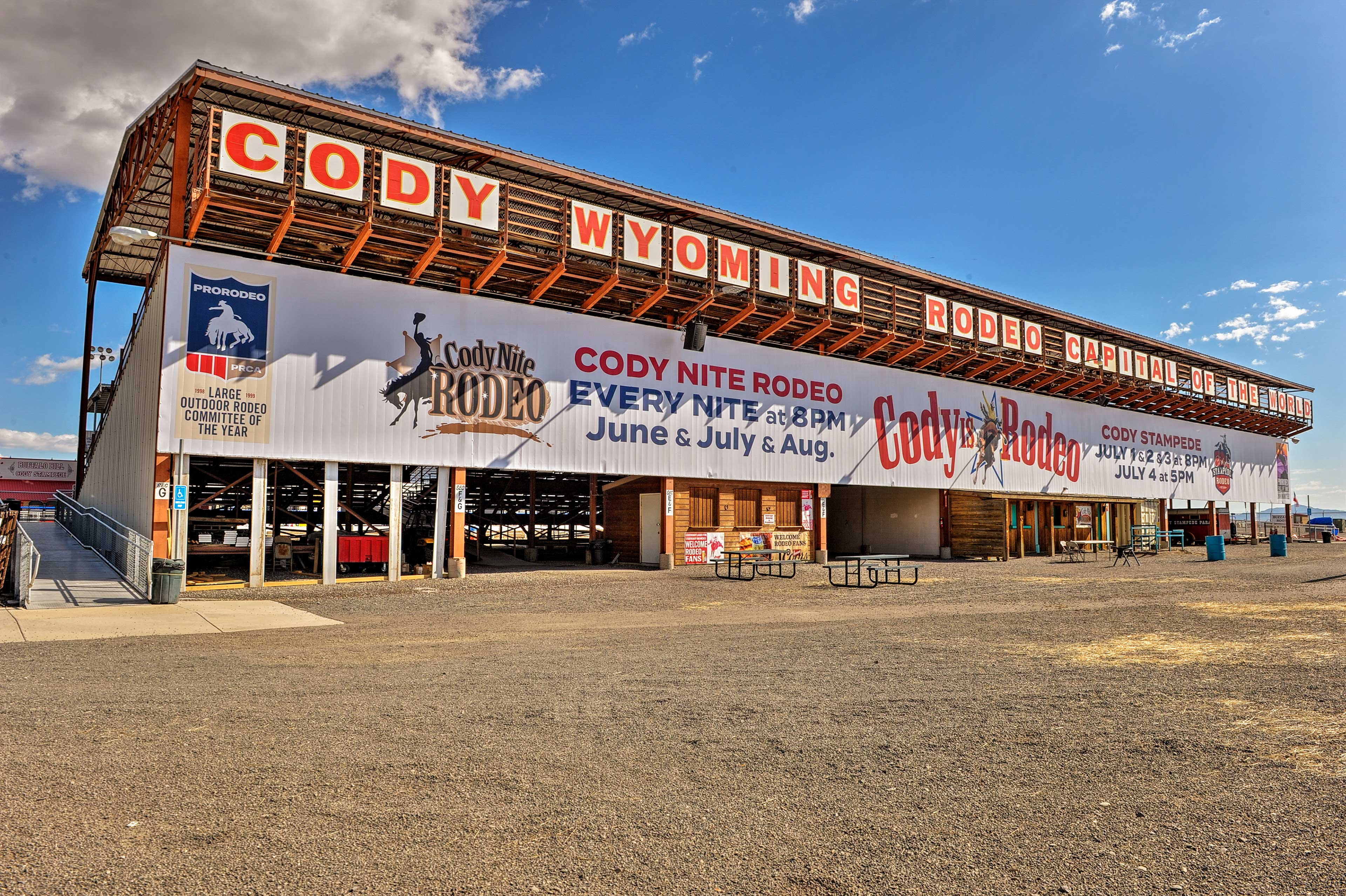 Have a 'nite' out at the Cody Rodeo- only 34.7 miles from Snowflake Cabin!