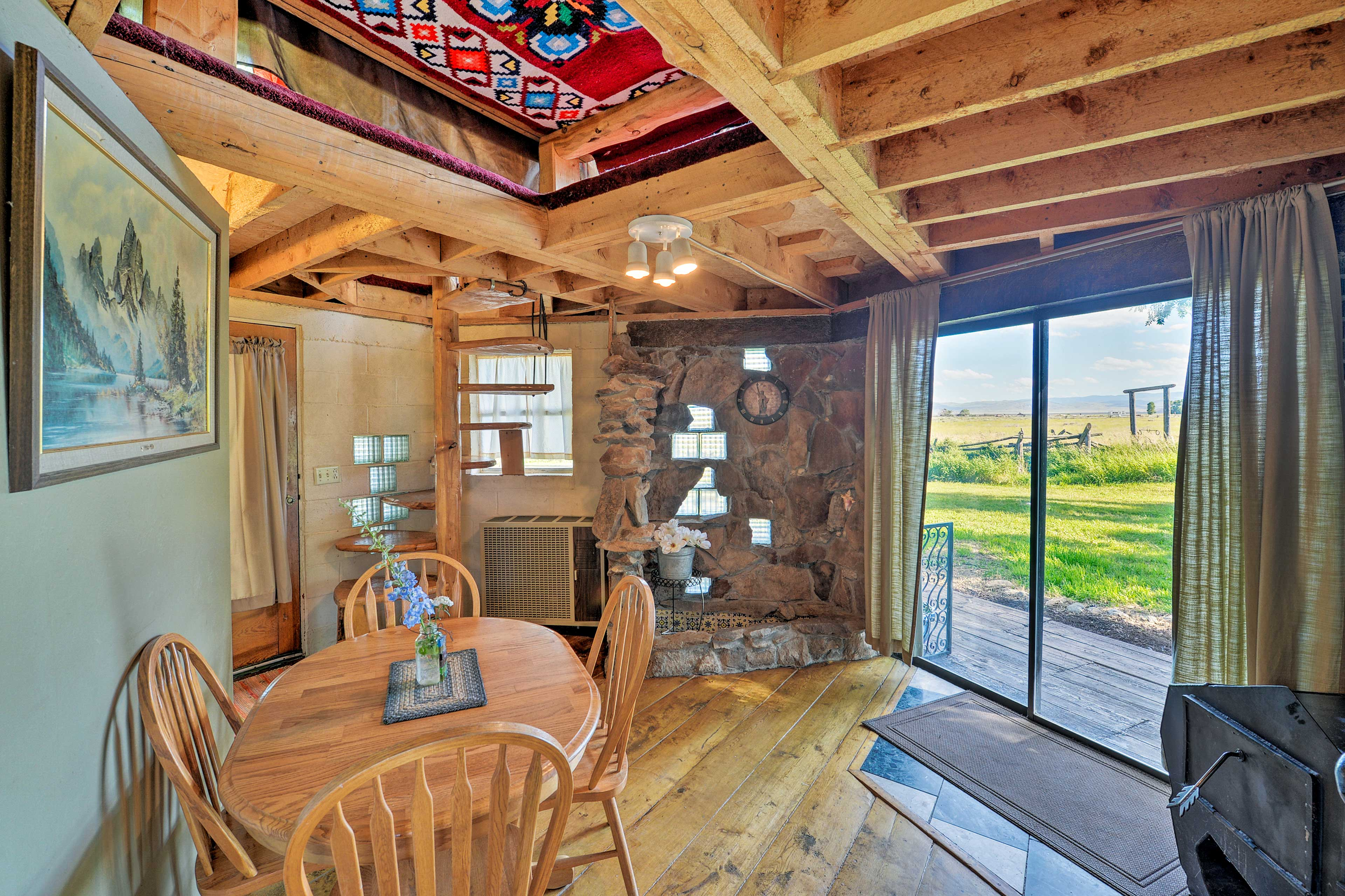 Enjoy the views from the kitchen's sliding glass doors.