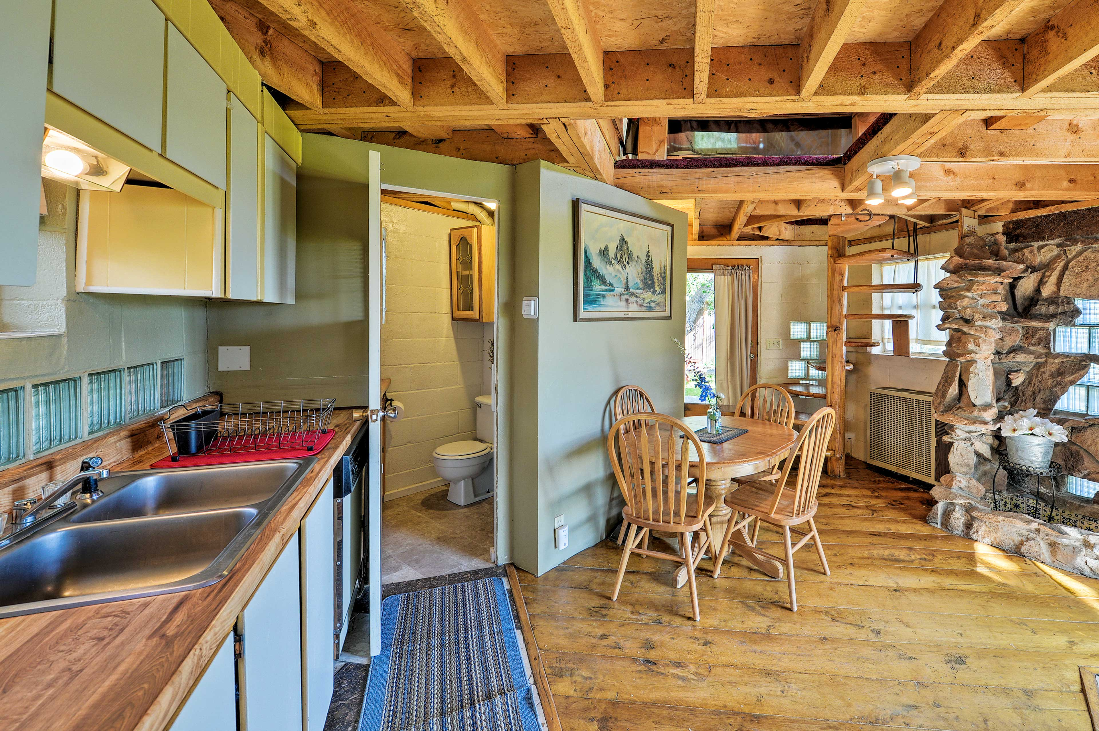 Cook up a meal for two in the cozy kitchen.