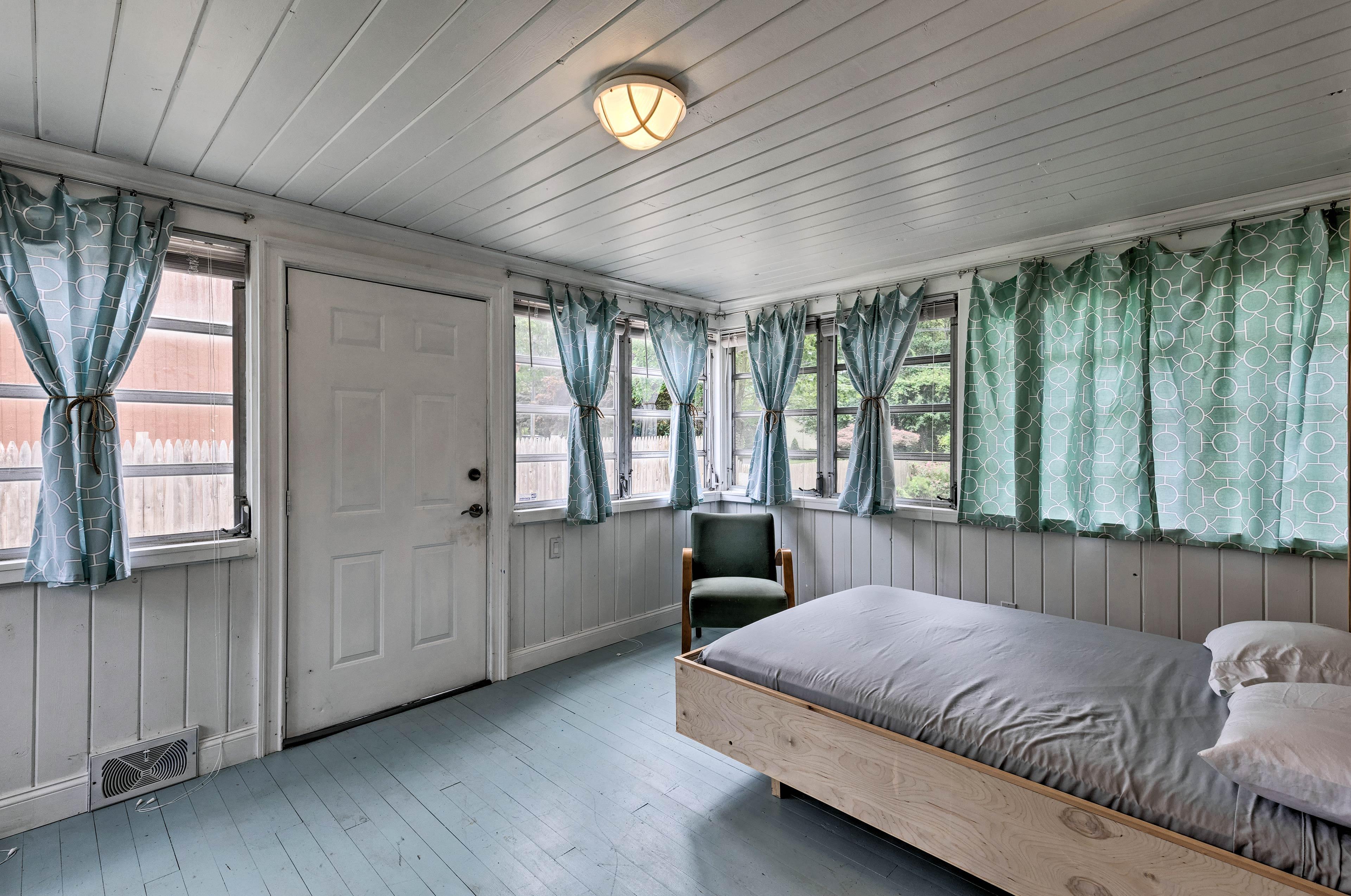 Windows surround this room.