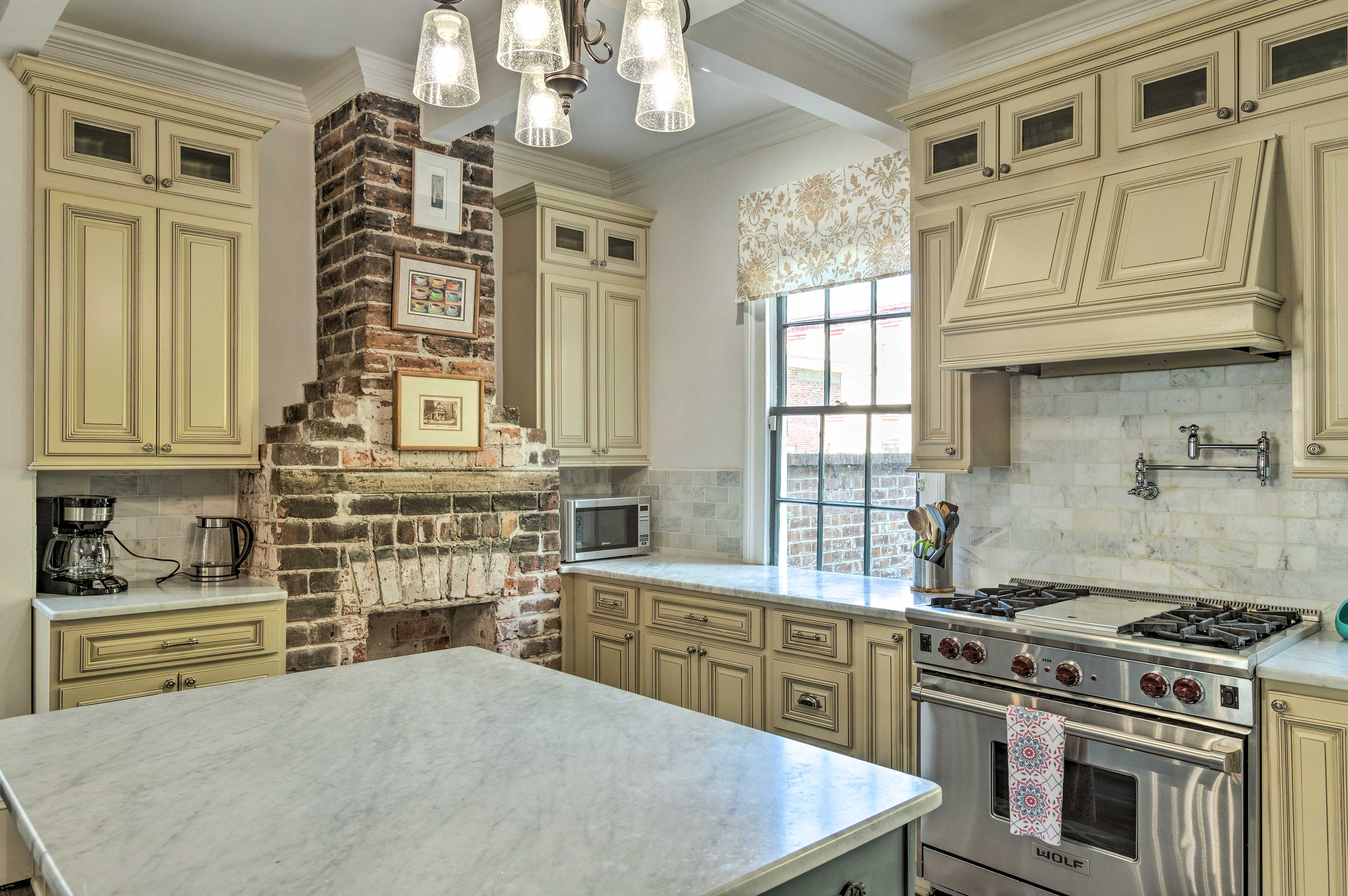 The kitchen comes fully equipped and is nice and open for entertaining.