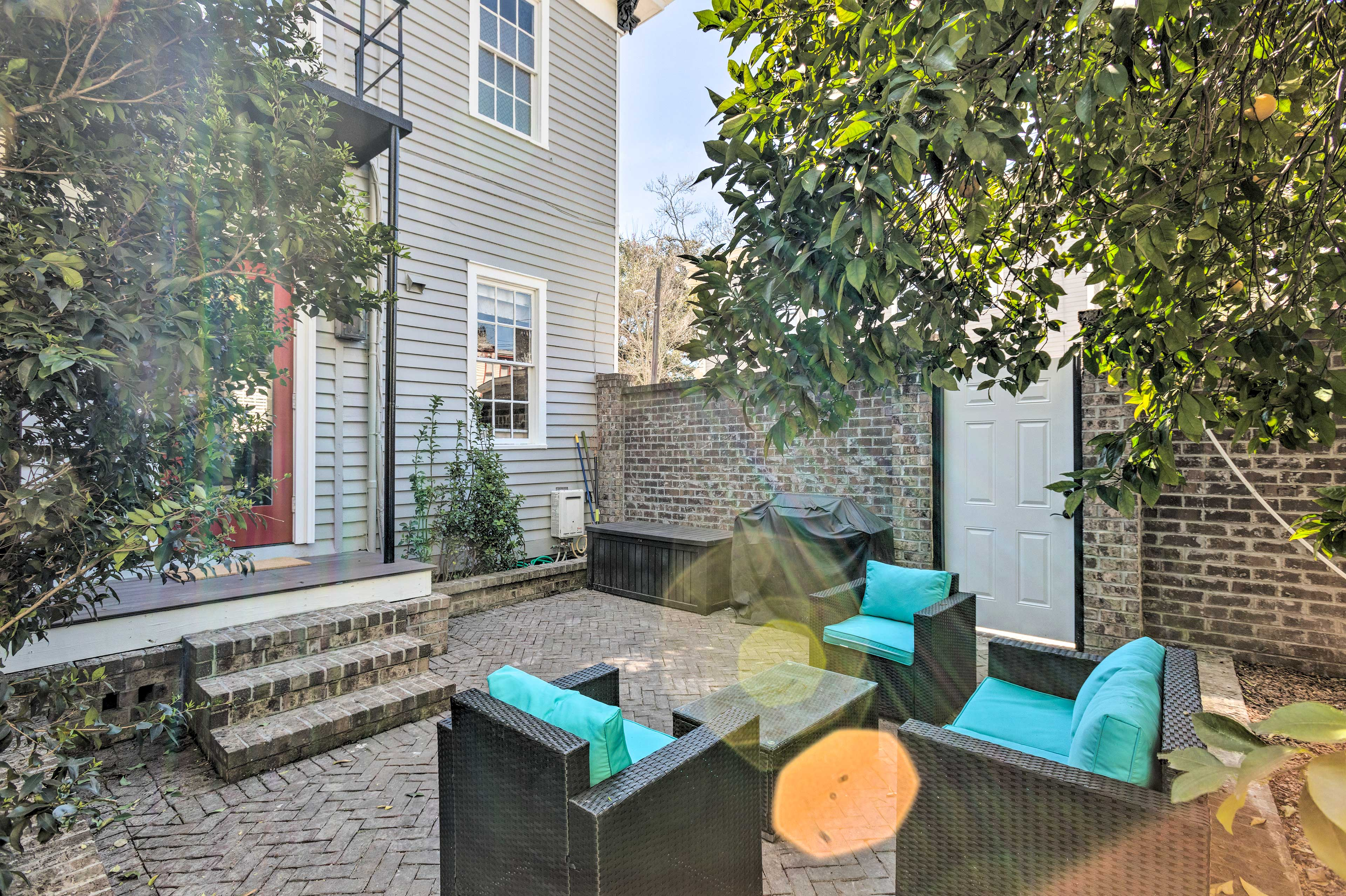 The patio area is the perfect spot to grill out and sip mint juleps.