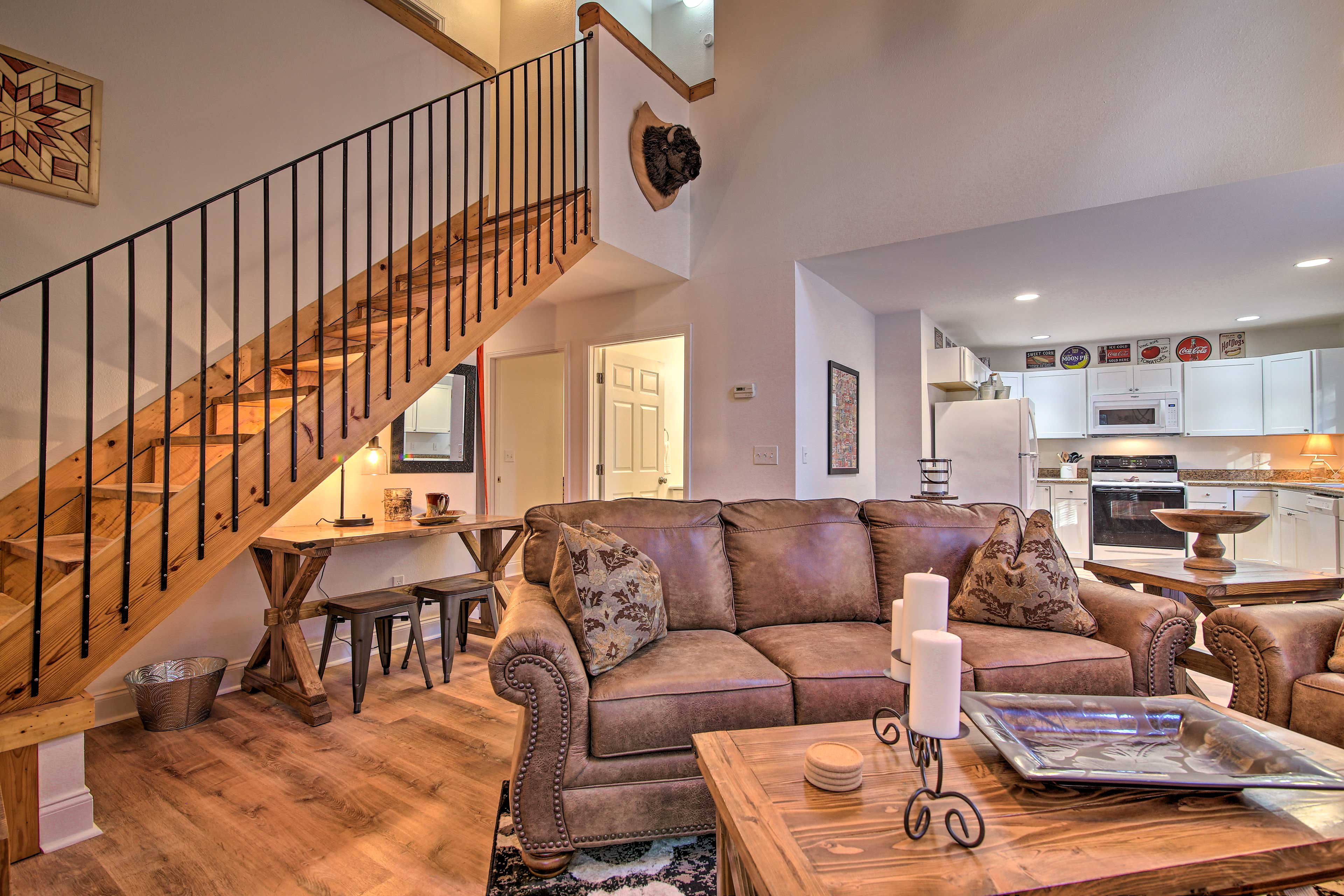 Enter the home and find a cozy living room.