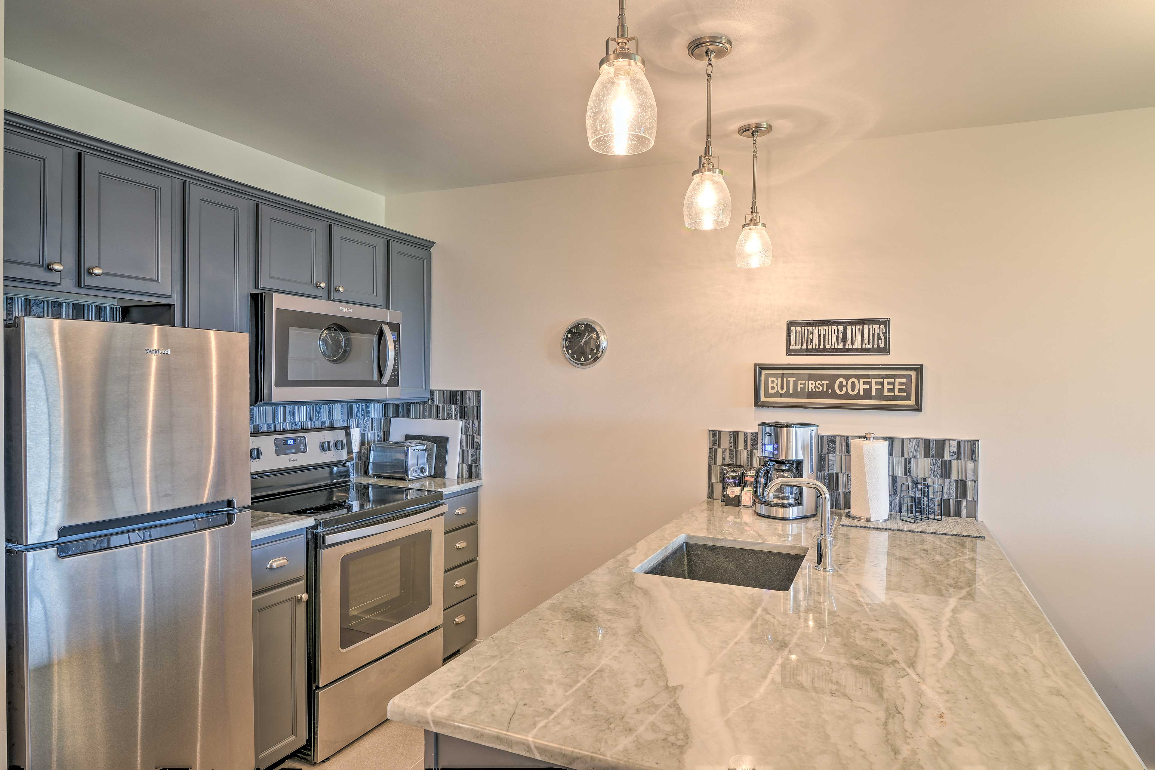 Inside, you'll find all of the comforts of home like a fully equipped kitchen.