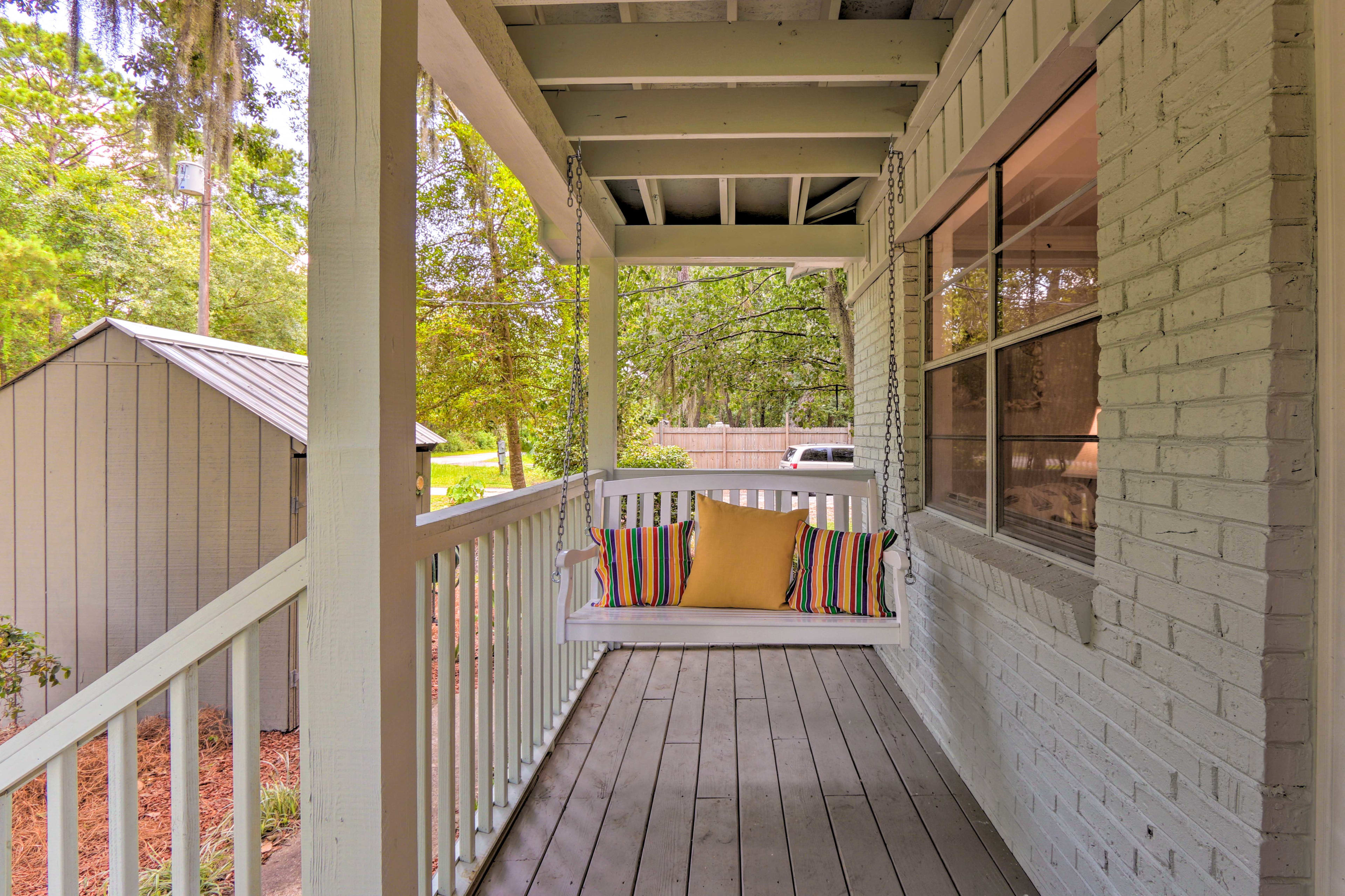 Swing your worries away on the porch swing.
