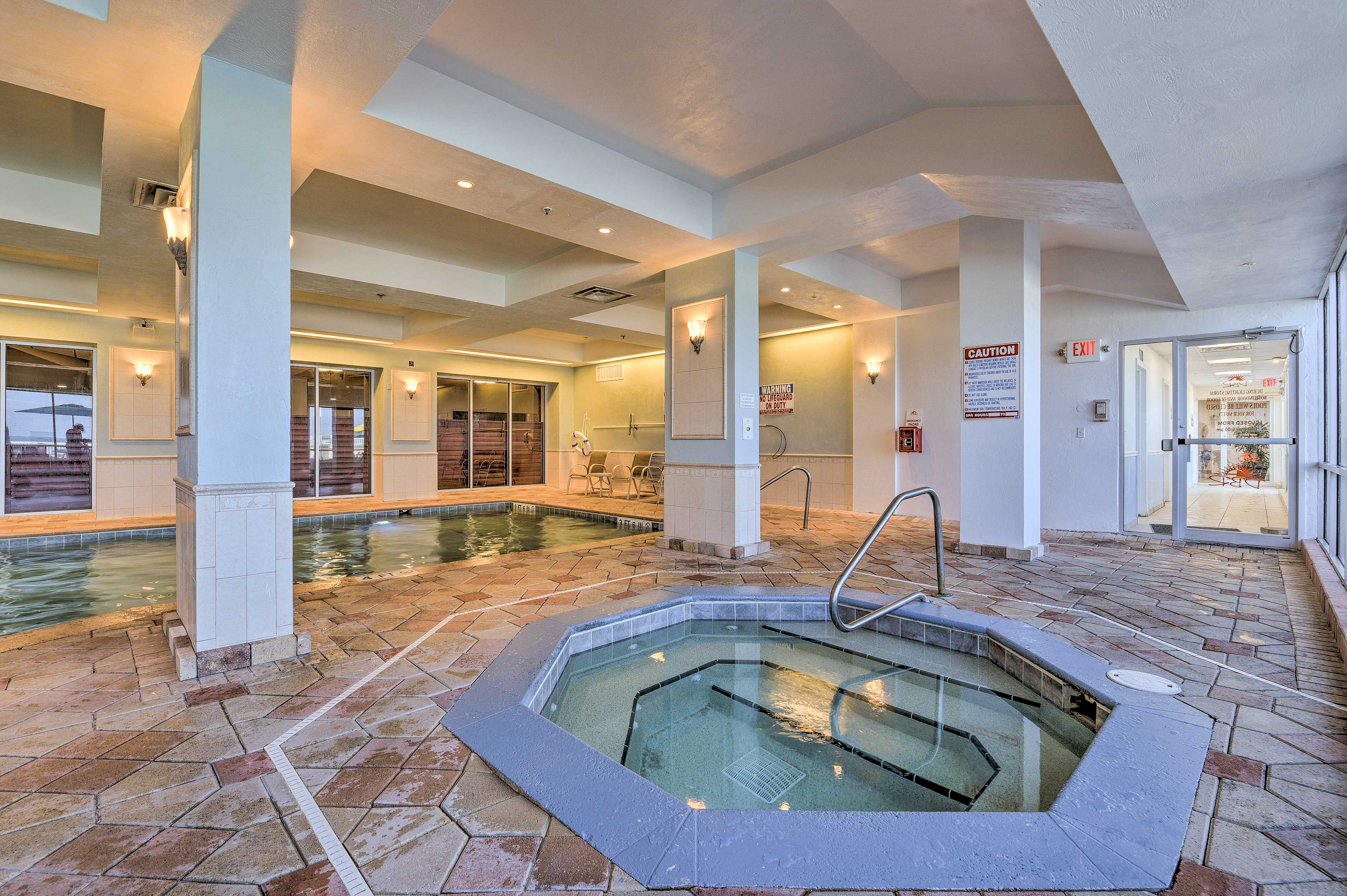 Immerse yourself in the hot tub.