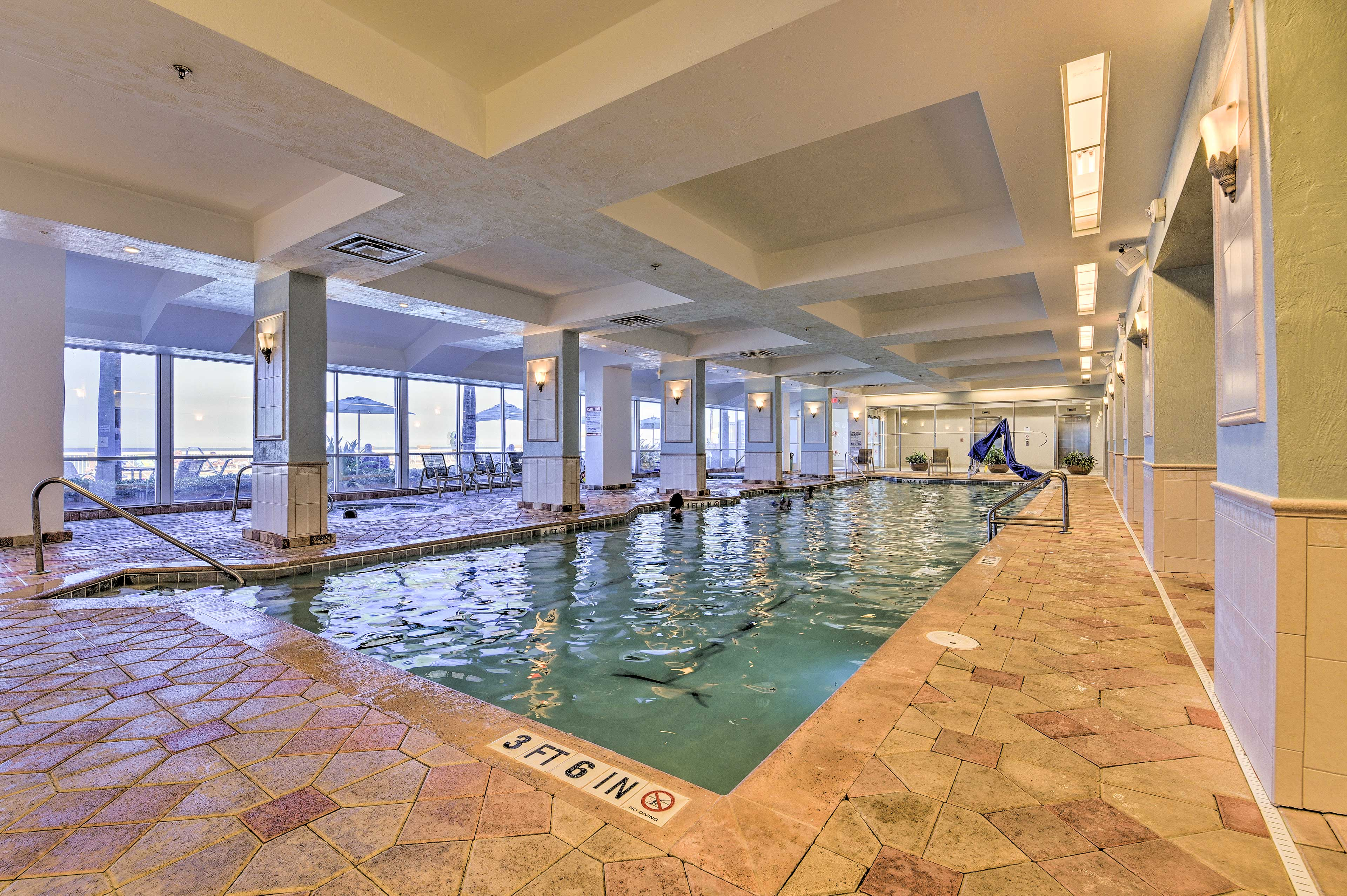 Swim laps or splash around with the kids in the pool!
