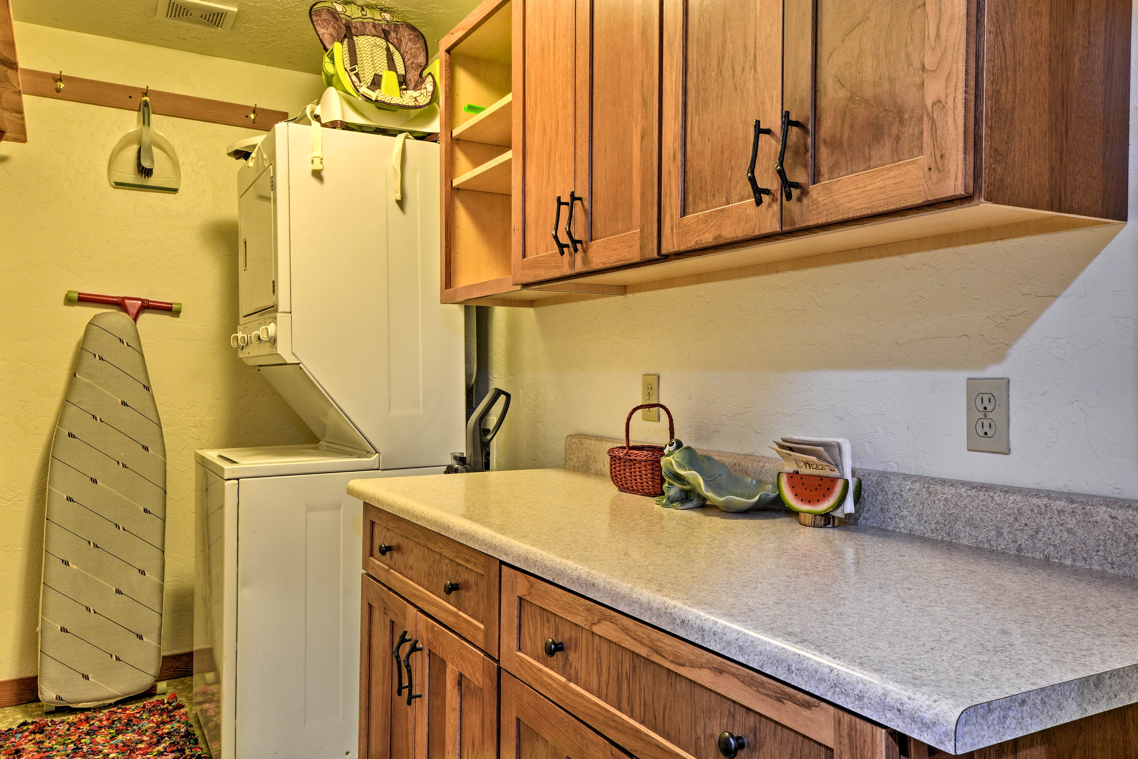 Keep up with laundry with the available washer and dryer.