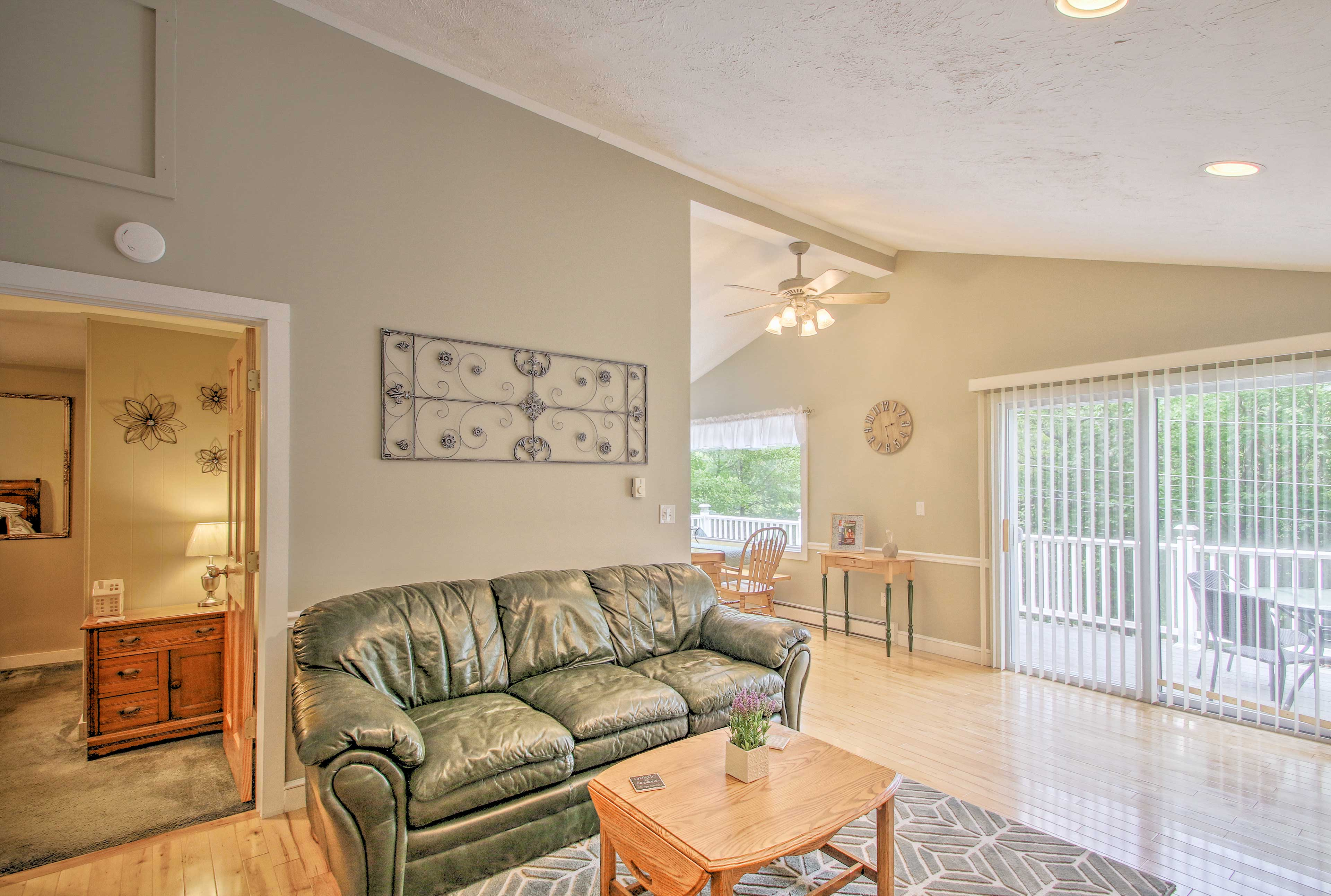The second living space provides seating for an additional 3 guests.