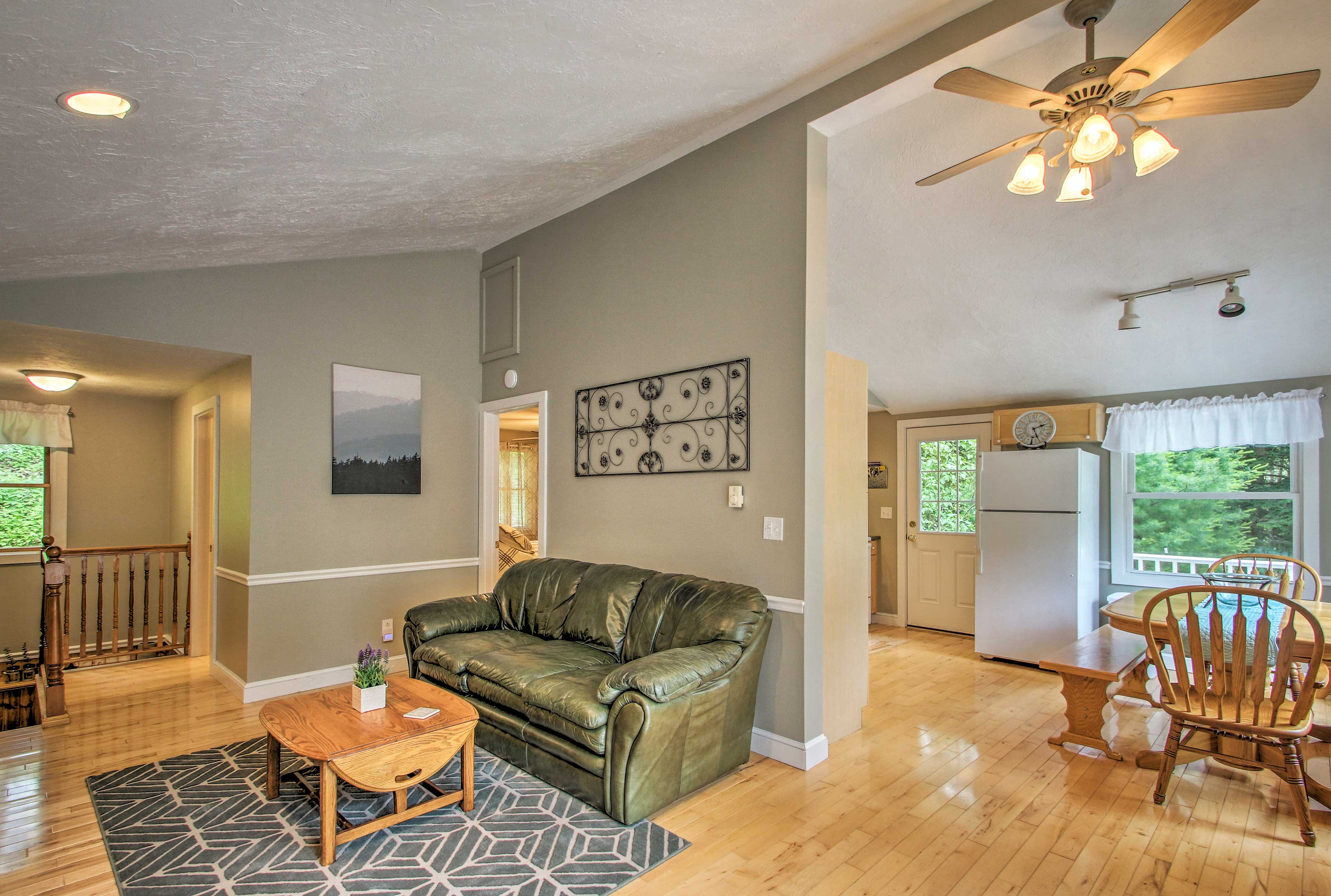 The vaulted ceilings make for an expansive feeling.