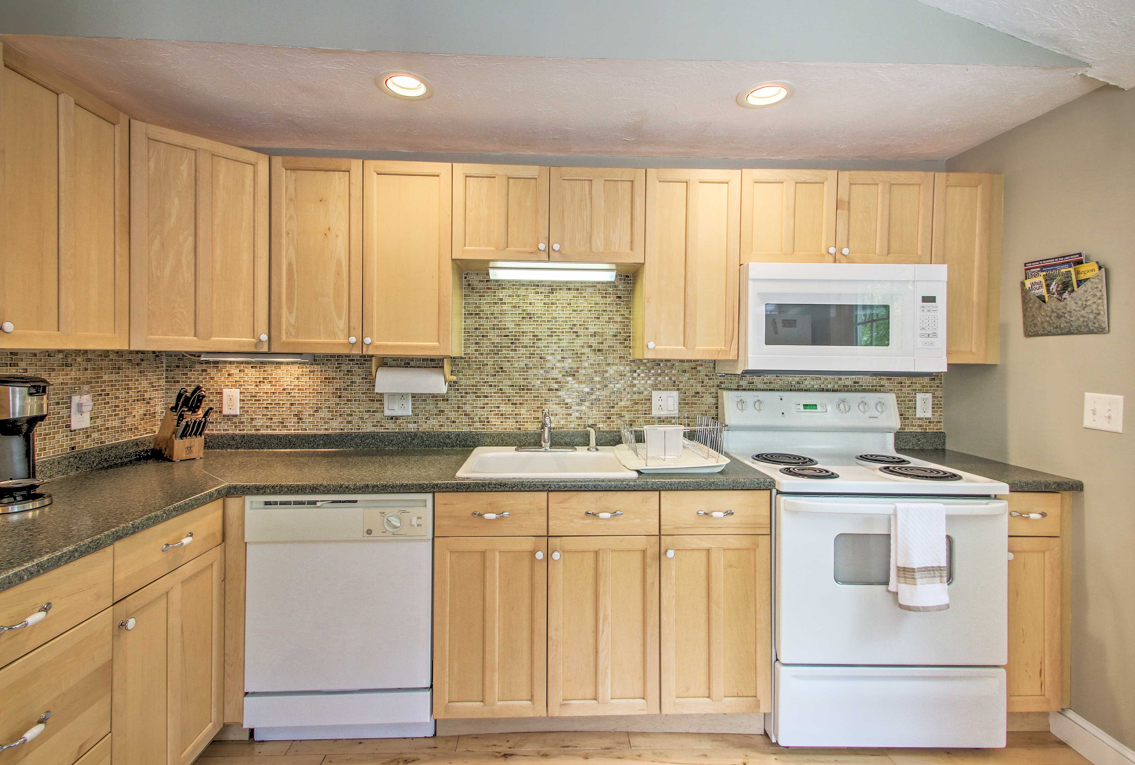 Step into the fully equipped kitchen and skip a dinner tab!