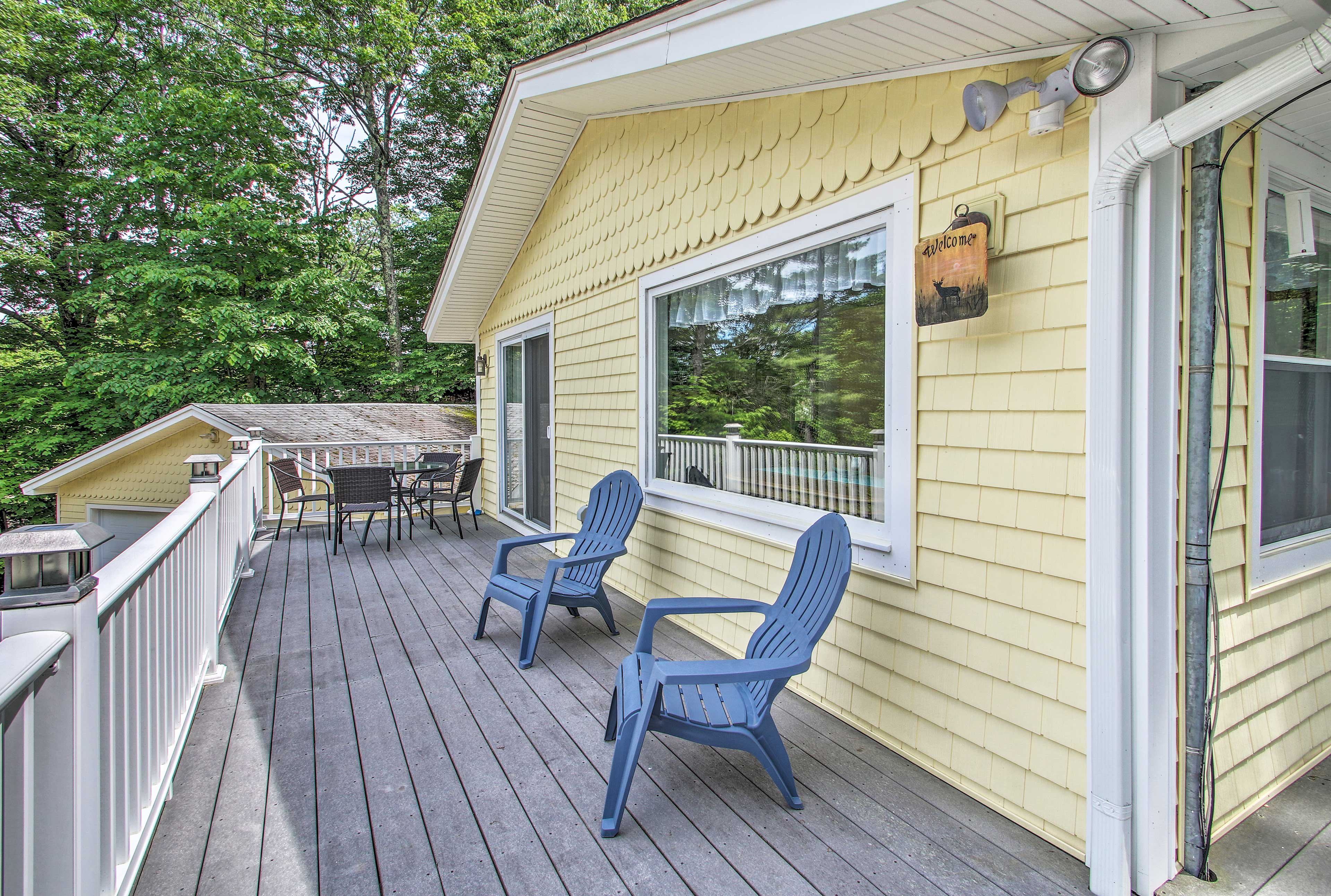 Enjoy a relaxing afternoon on the deck of this 4-bed, 2-bath home.