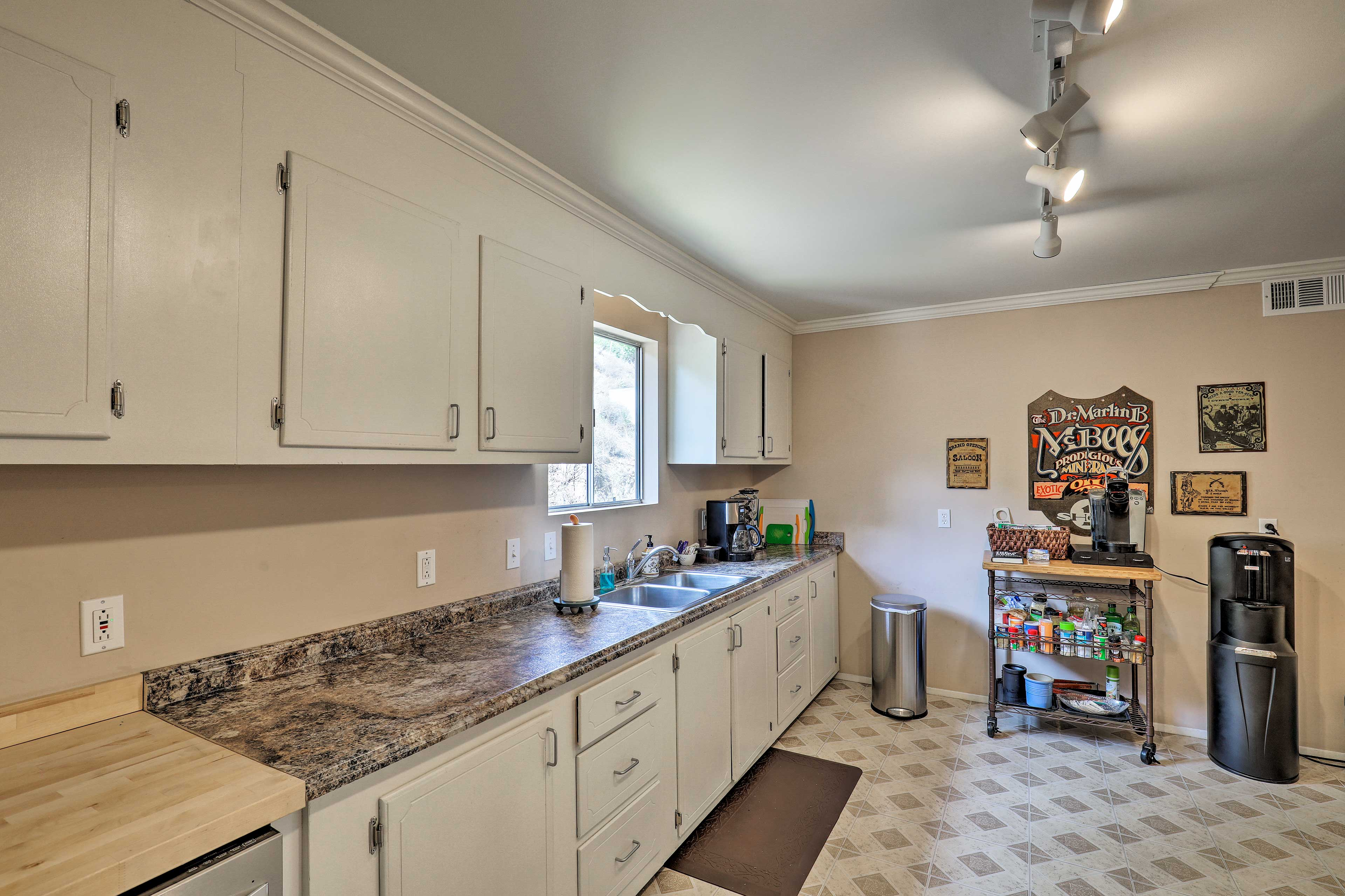 Ample countertops provide plenty of space to meal prep.