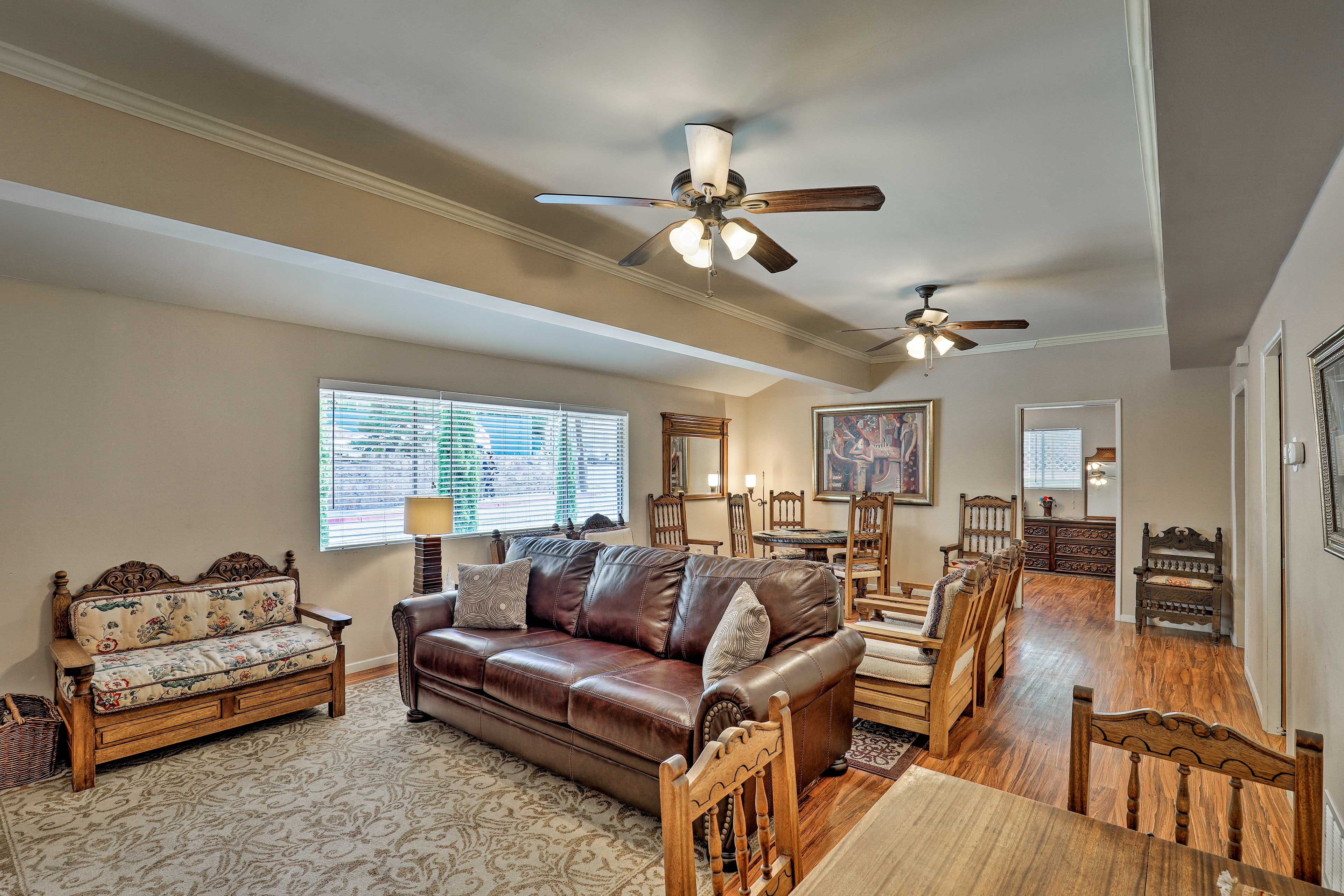 Ceiling fans will keep the home nice and cool for you.