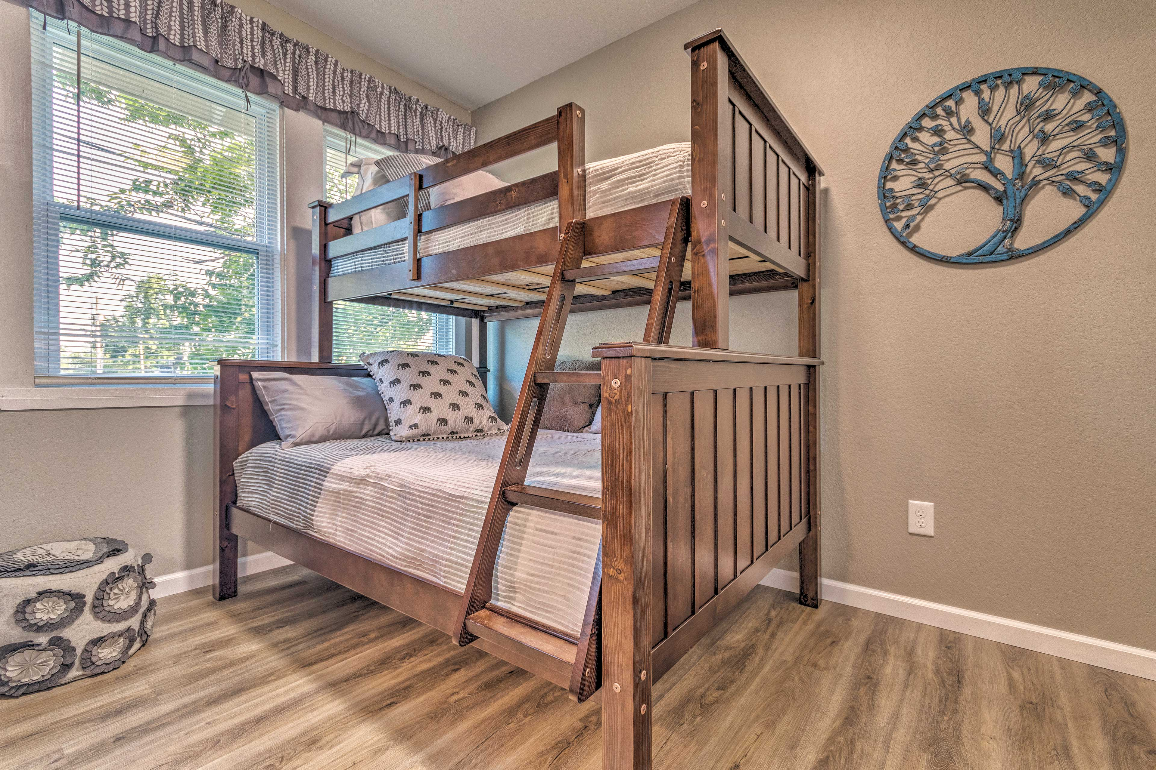 A twin-over-full bunk bed is great for kids.