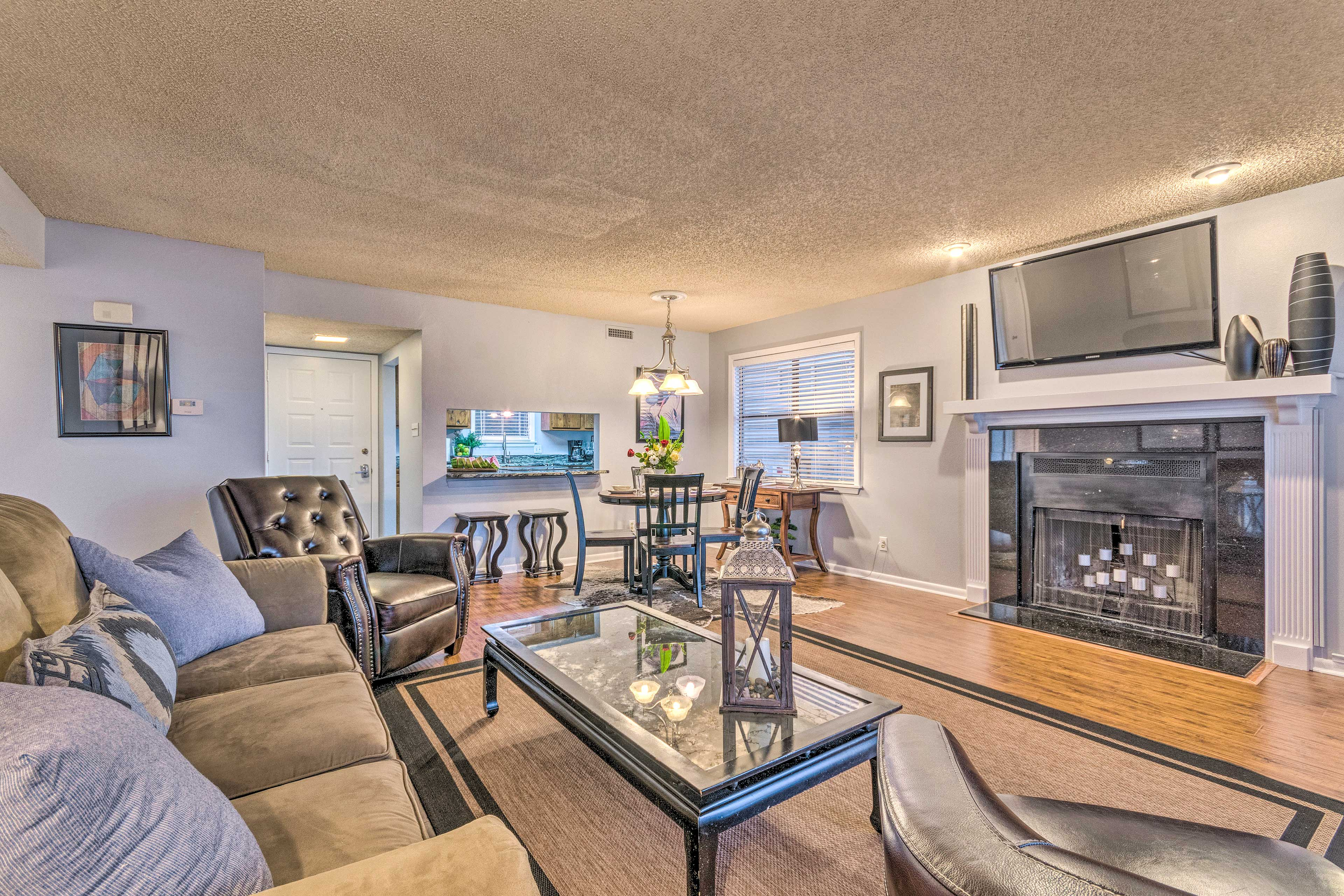Decompress with a movie night in this spacious living area!