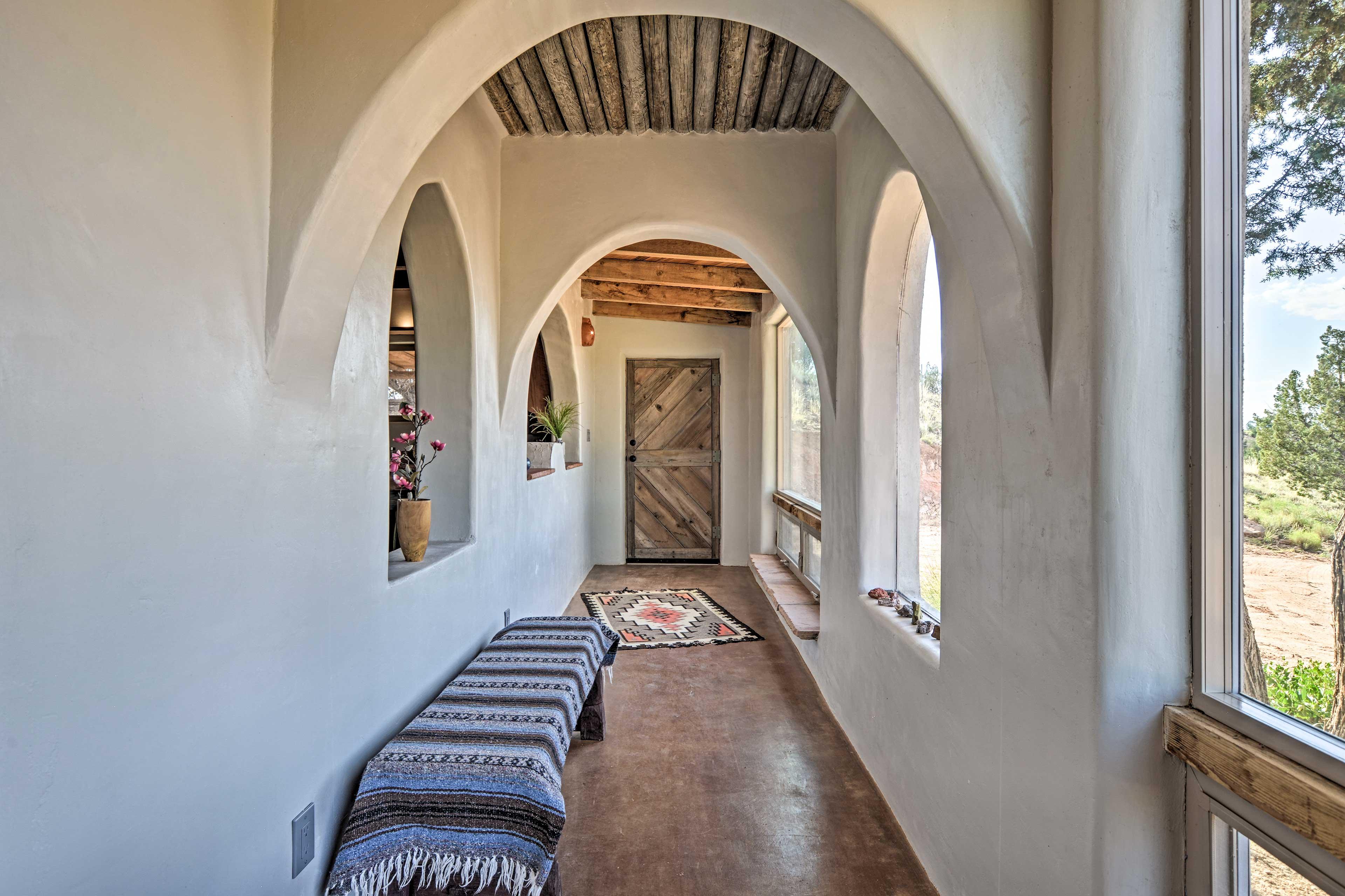 The houses boasts unique architecture & Southwestern decor.