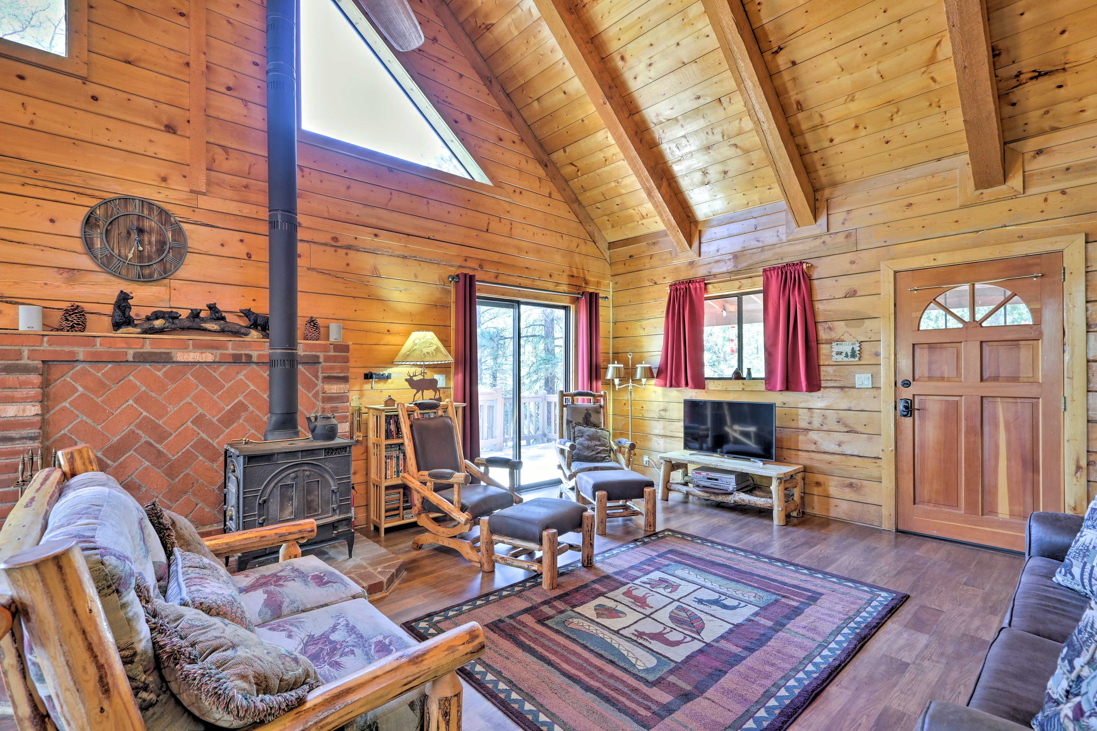 Enjoy evenings in the living room gathered around the wood-burning stove.