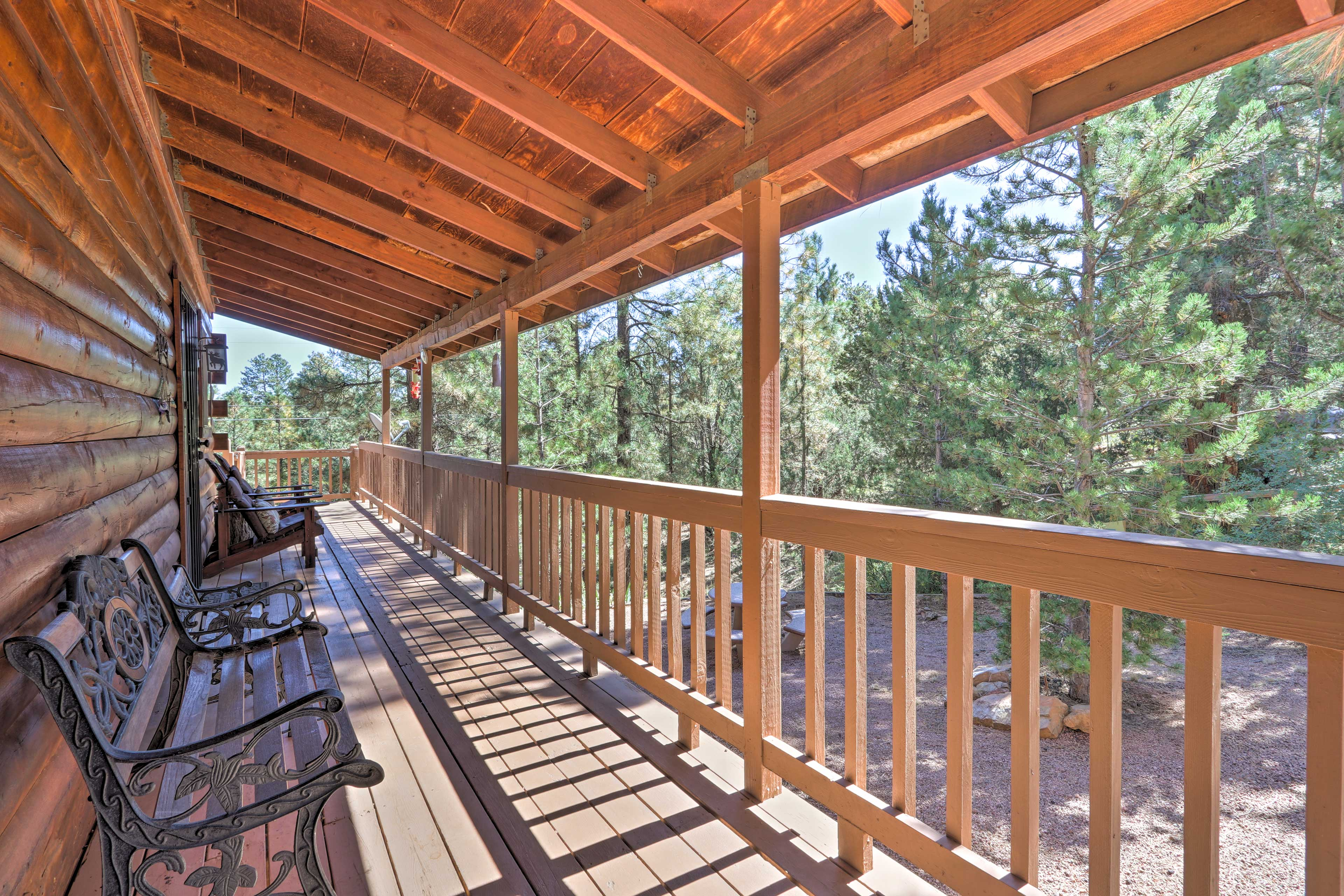 Spend evenings on the deck overlooking the pines.