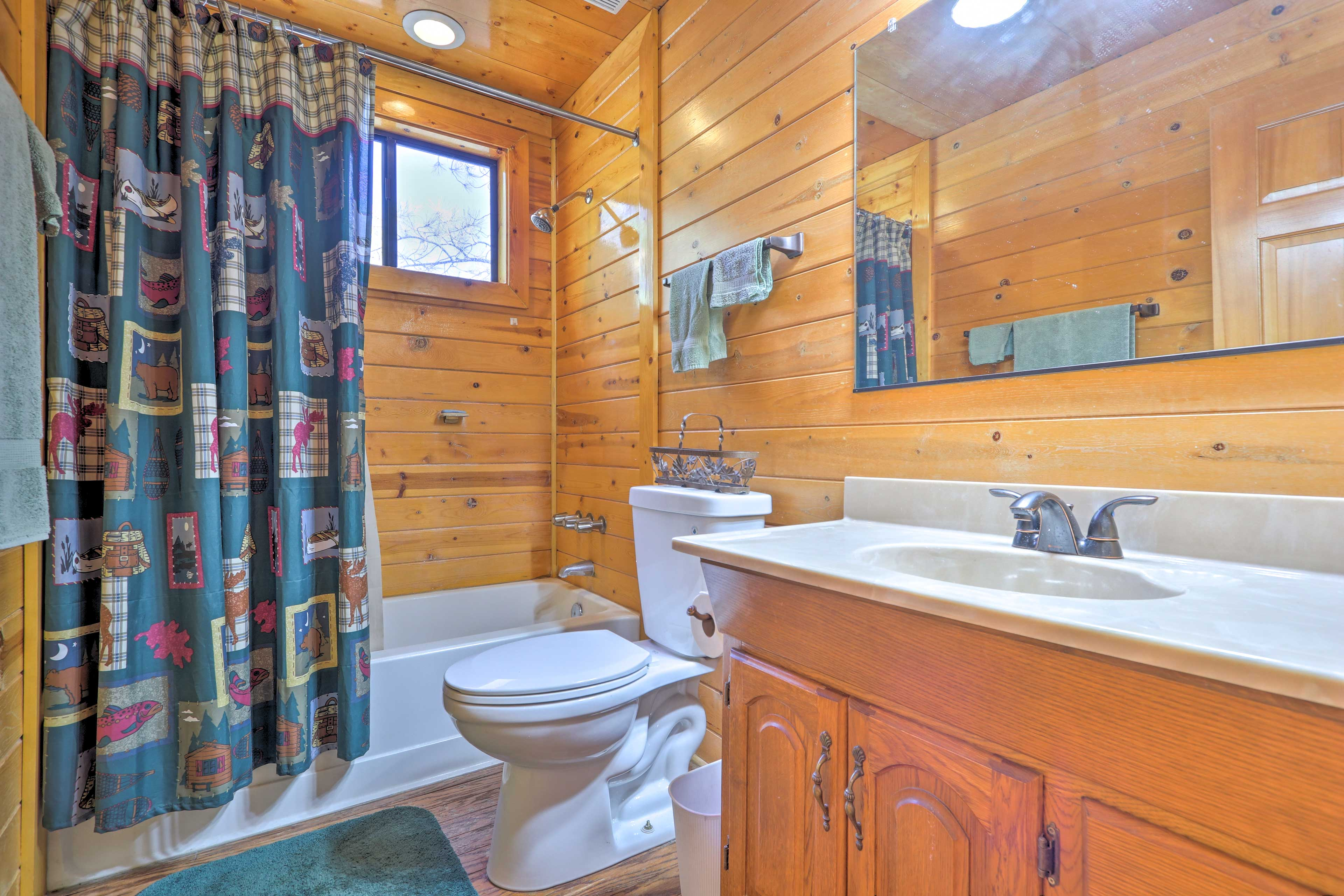 Turn up the heat in the en-suite bathroom for a steamy shower.