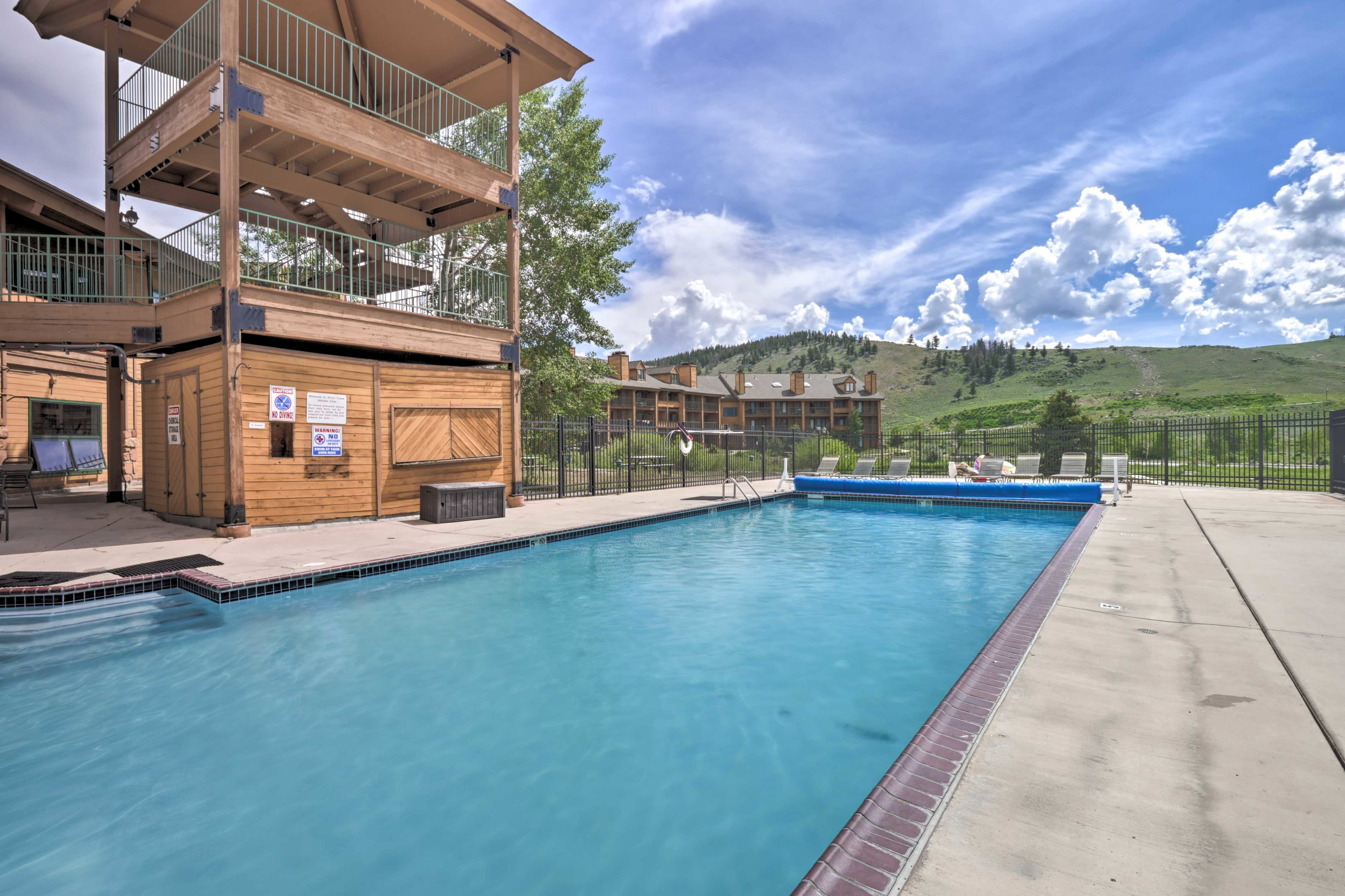 Dive into the heated pool at this Granby resort studio.