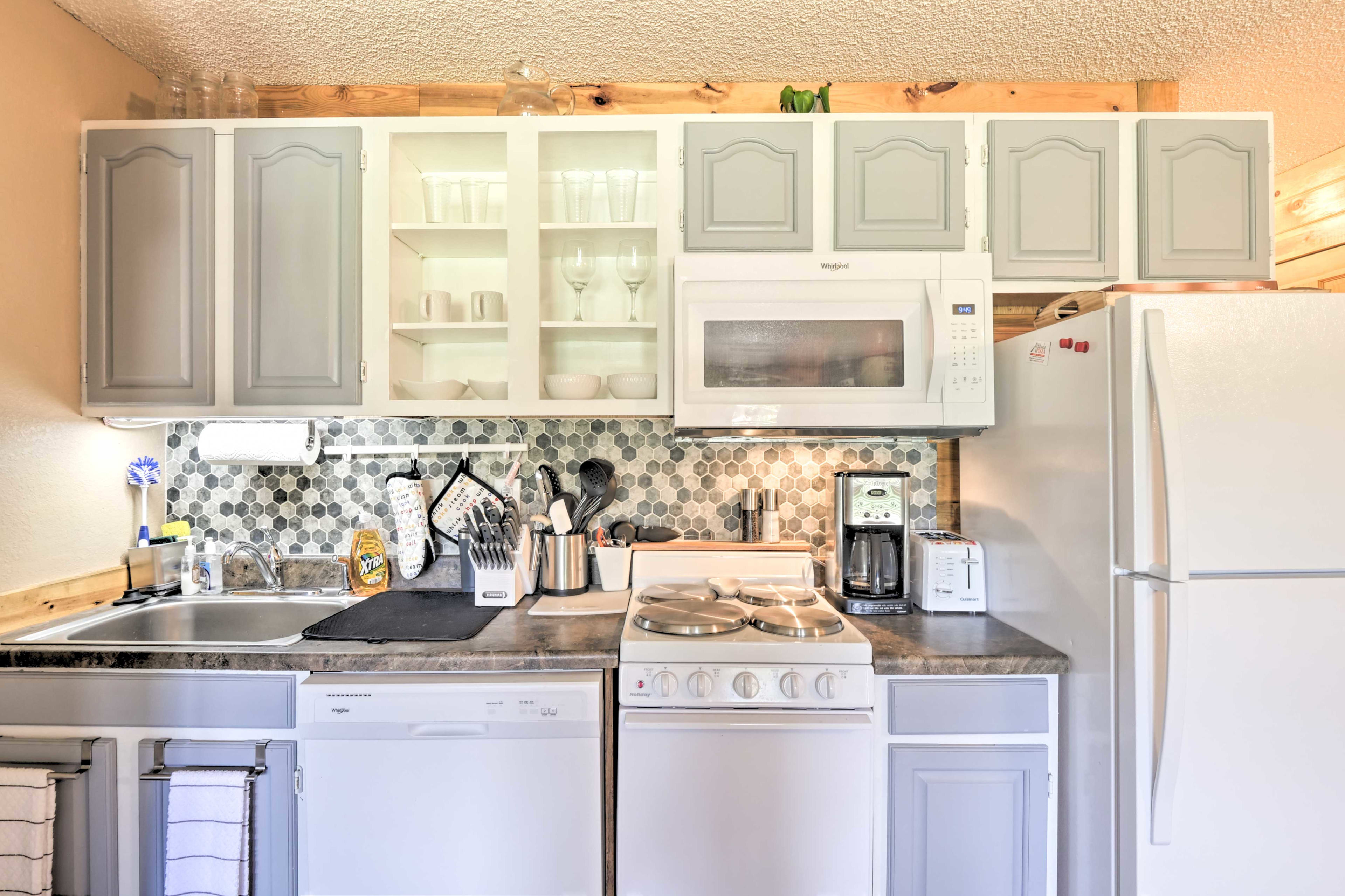 The fully equipped kitchen allows you to skip a dinner tab.