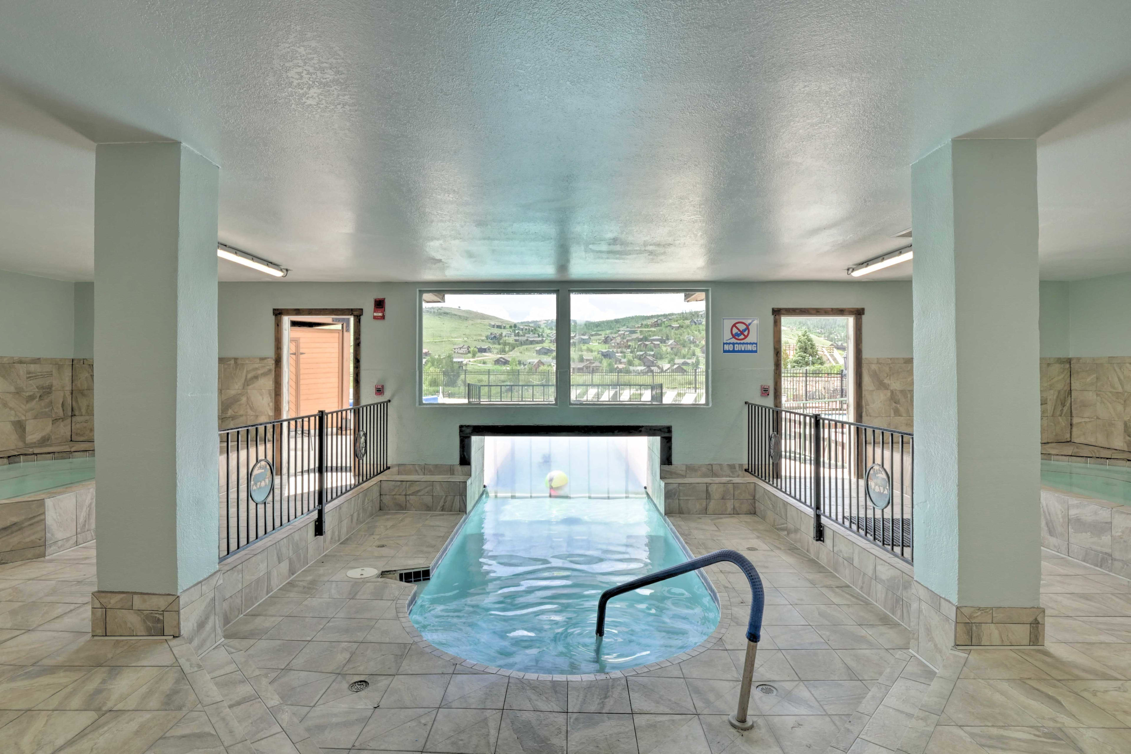 Find access to the indoor/outdoor pool at this condo.