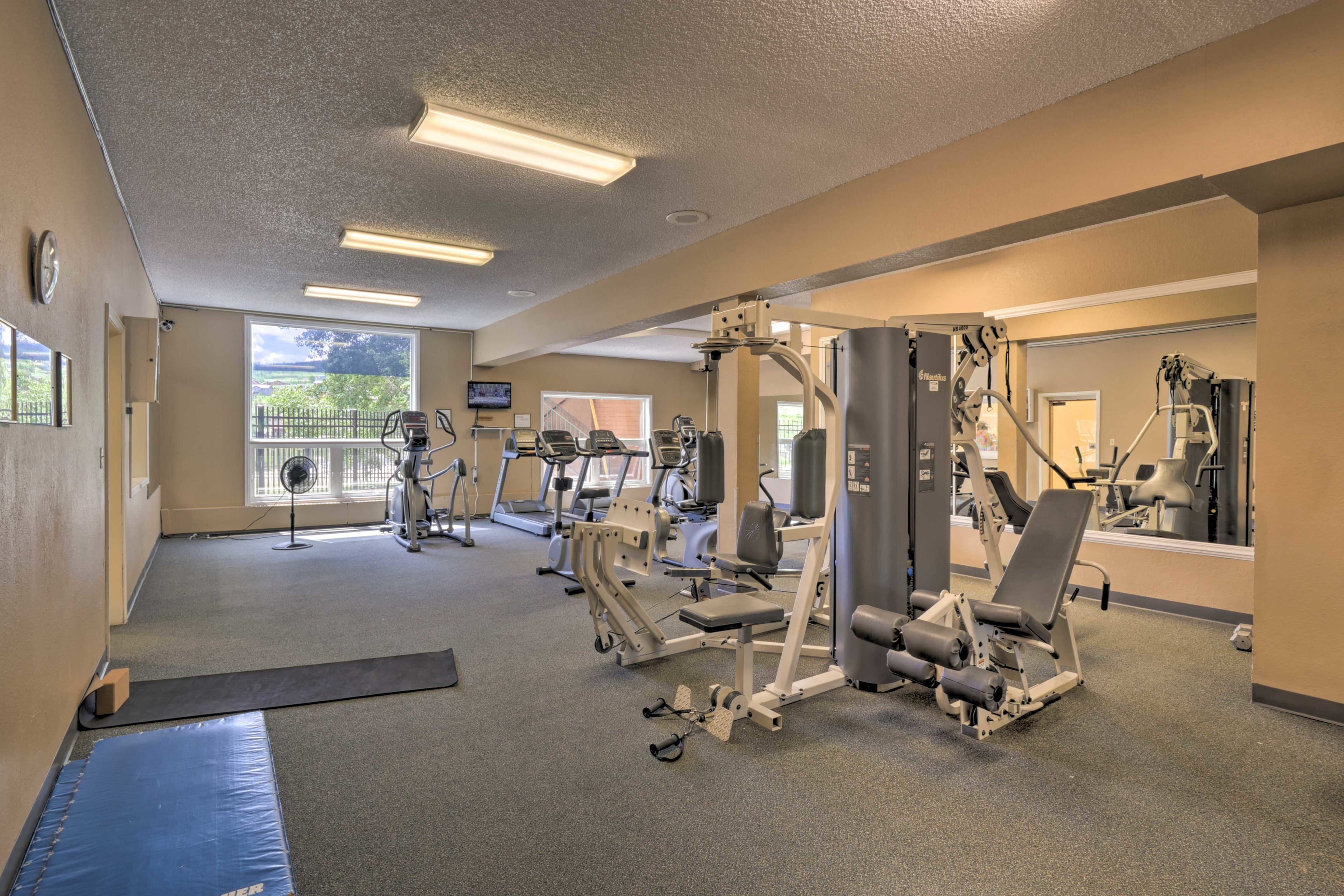 Work on your fitness in the recreation room.