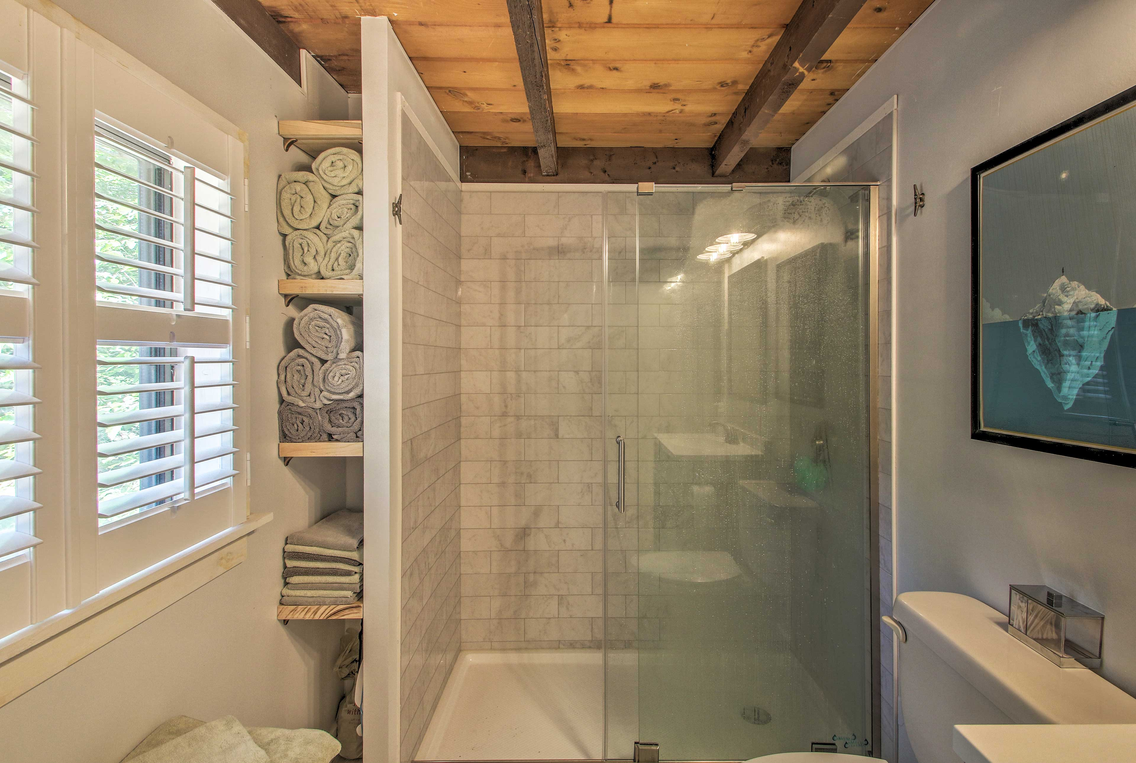 Rinse off after a day in the lake with the updated bathroom!