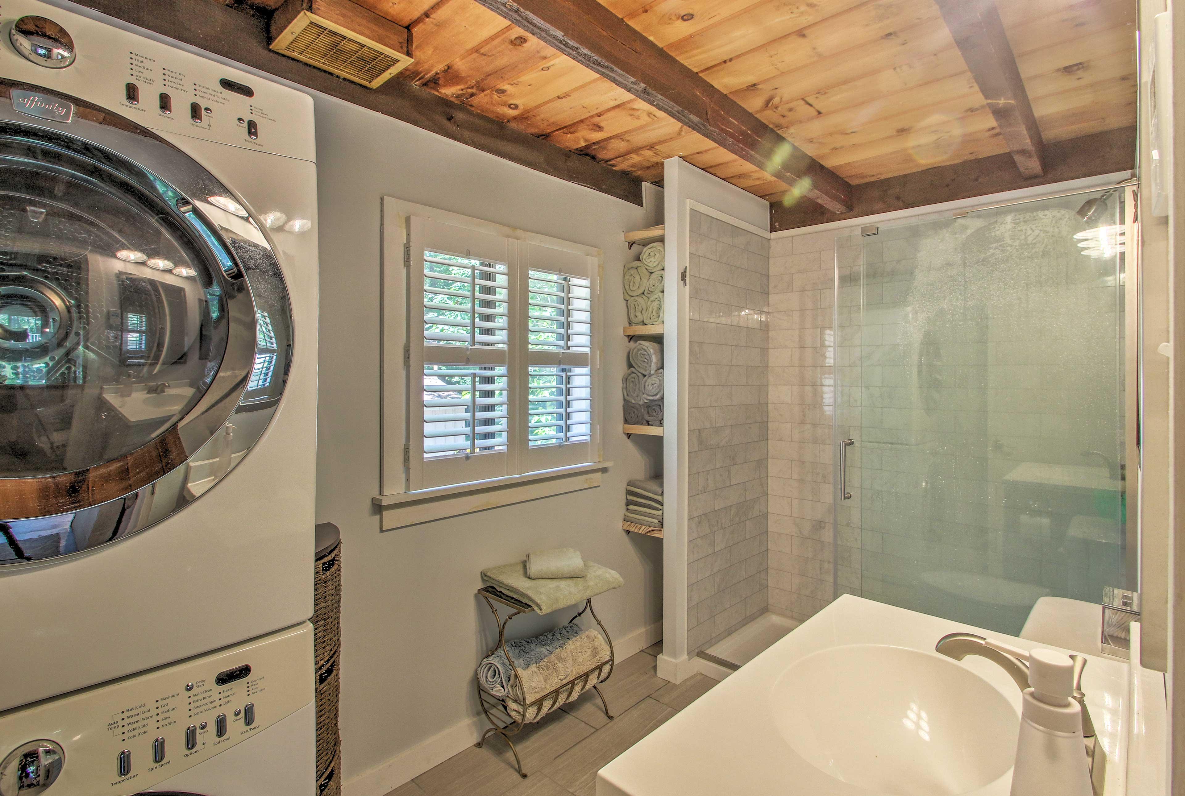 Keep up with dirty beach towels and swimsuits by using the washer and dryer.