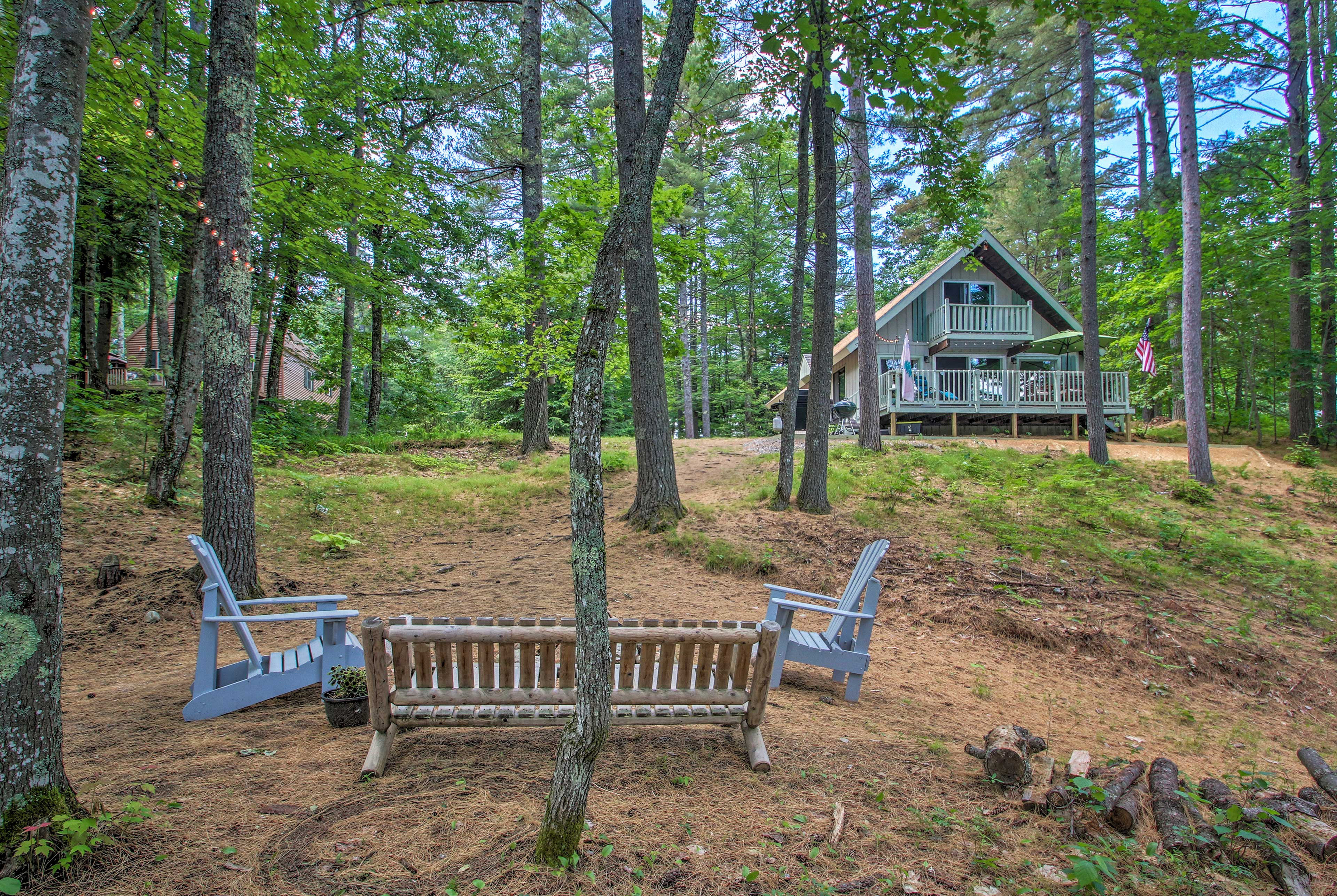 Enjoy being nestled in the woods when you stay at this cabin.