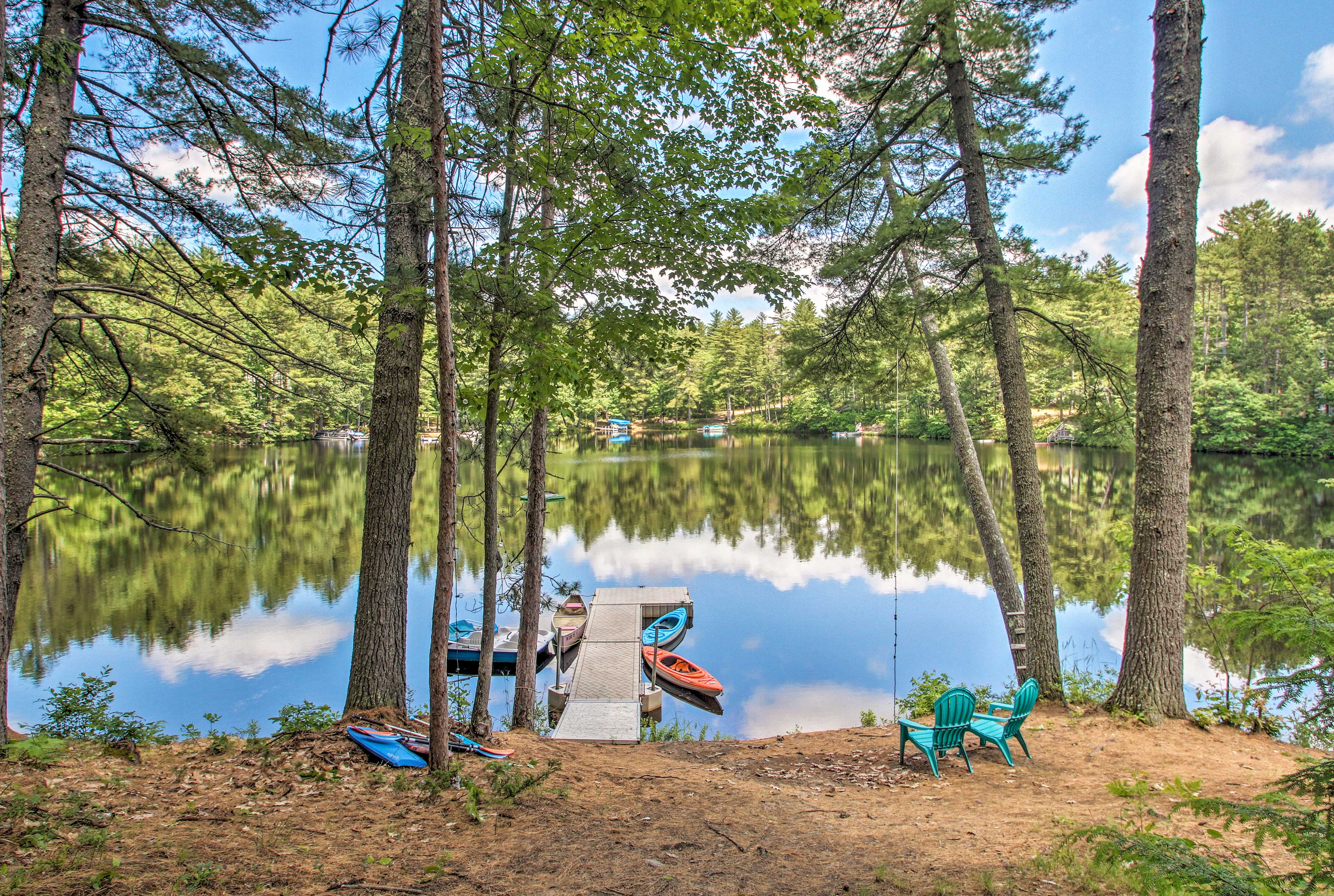 Step down to the private dock to take the kayaks or paddleboat out!
