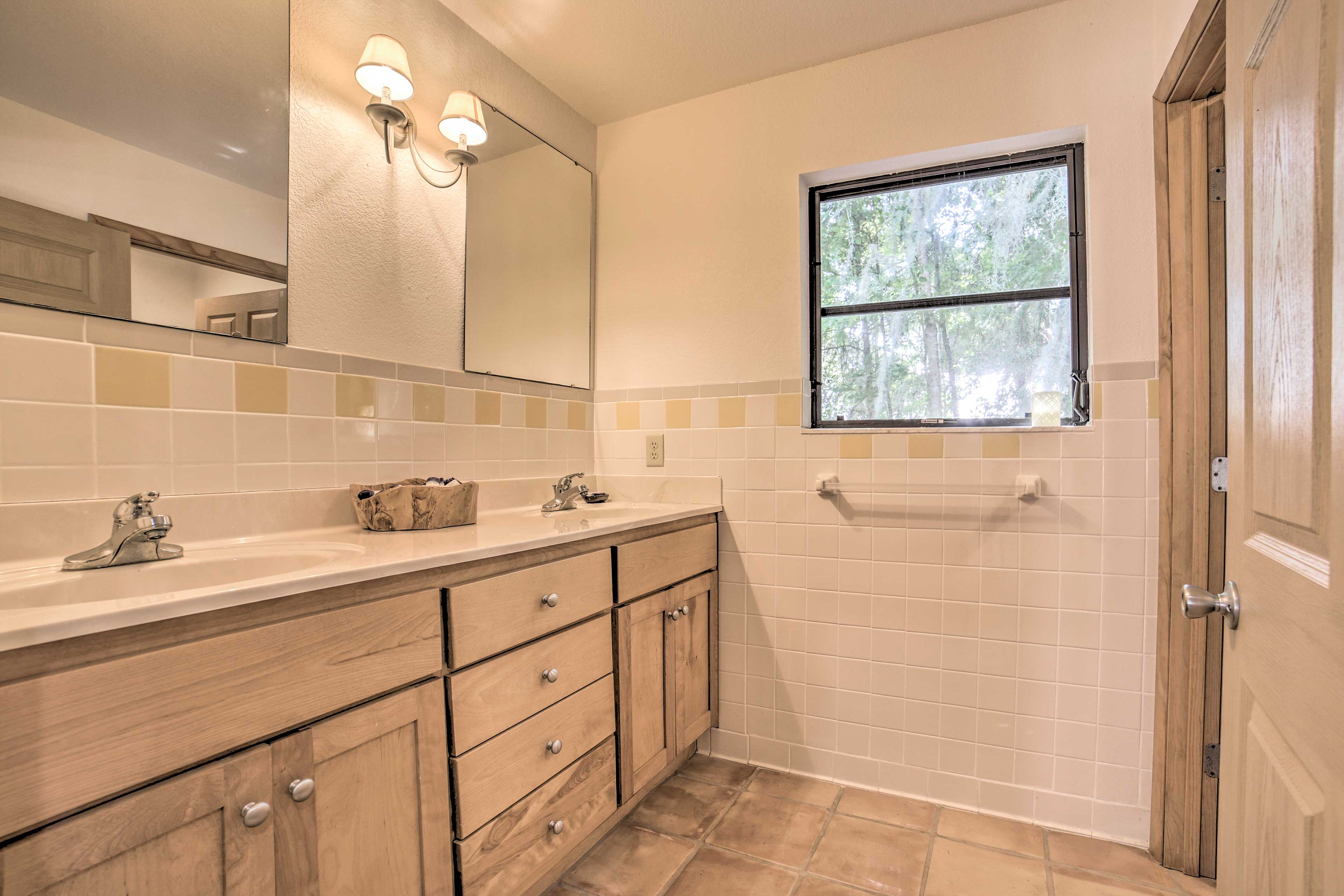 Enjoy the convenience of a double vanity.