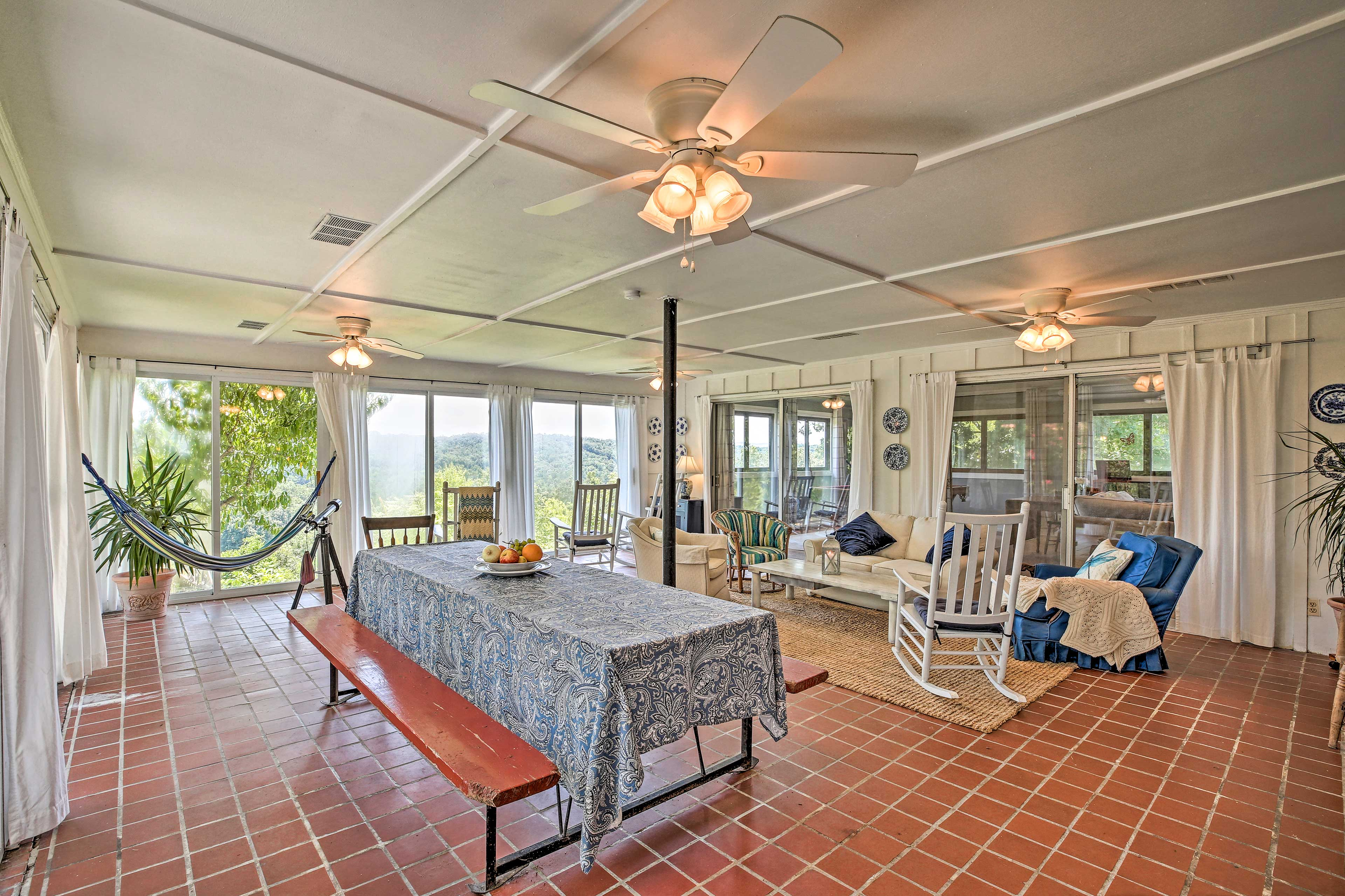 The sunroom is the perfect place to hang out!