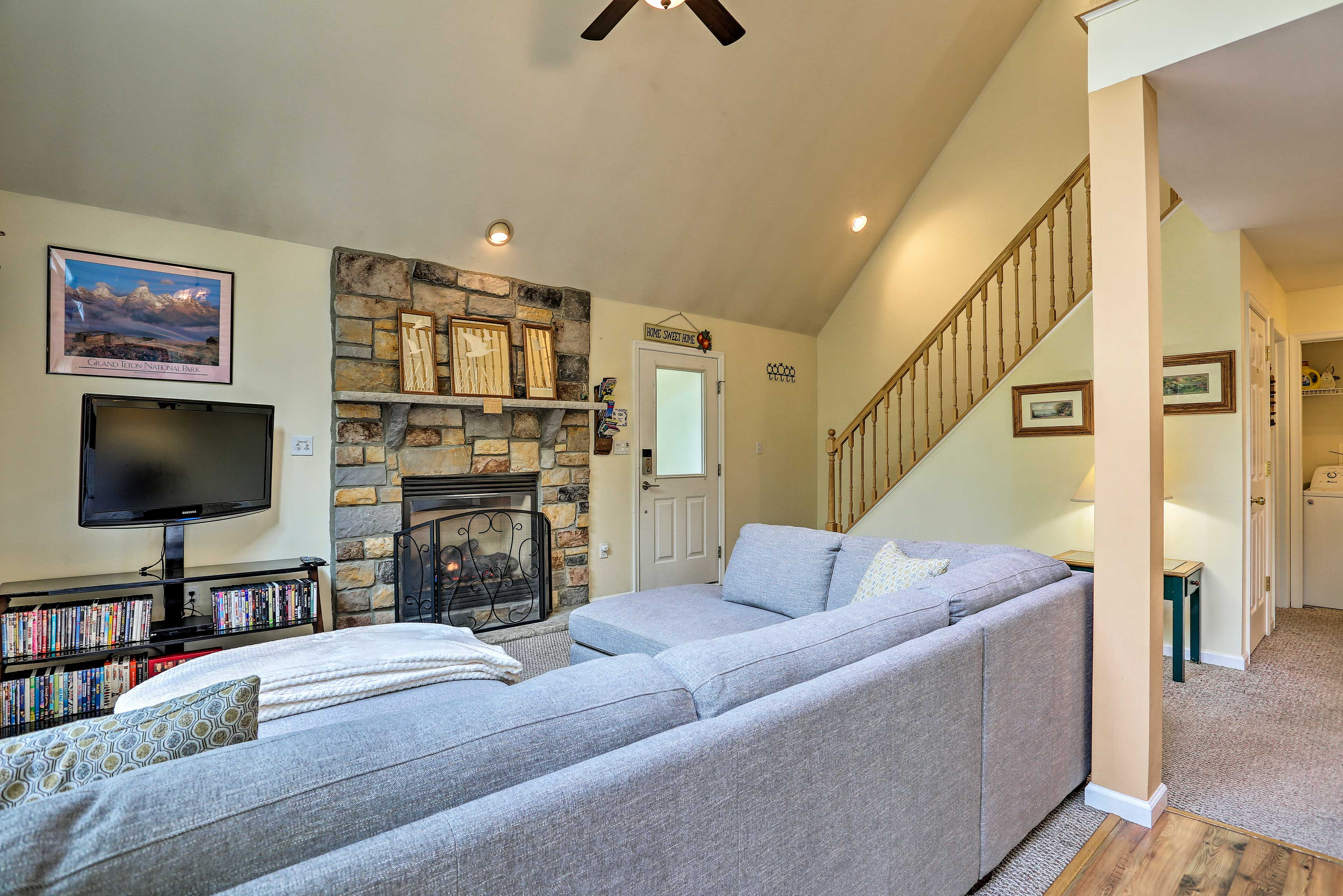 You'll feel the flames of the gas fireplace warm the room.