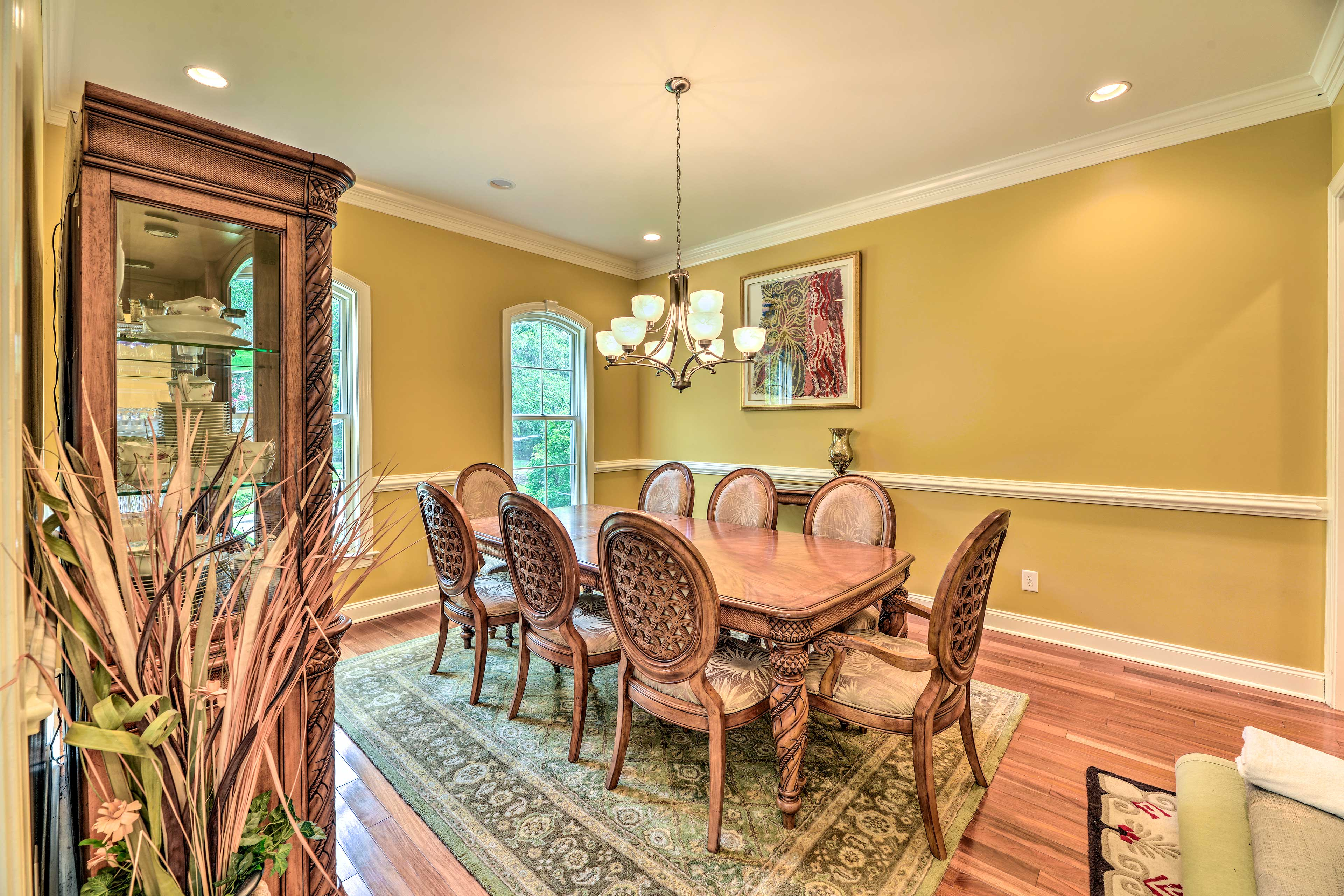 Enjoy meals at the large dining table.