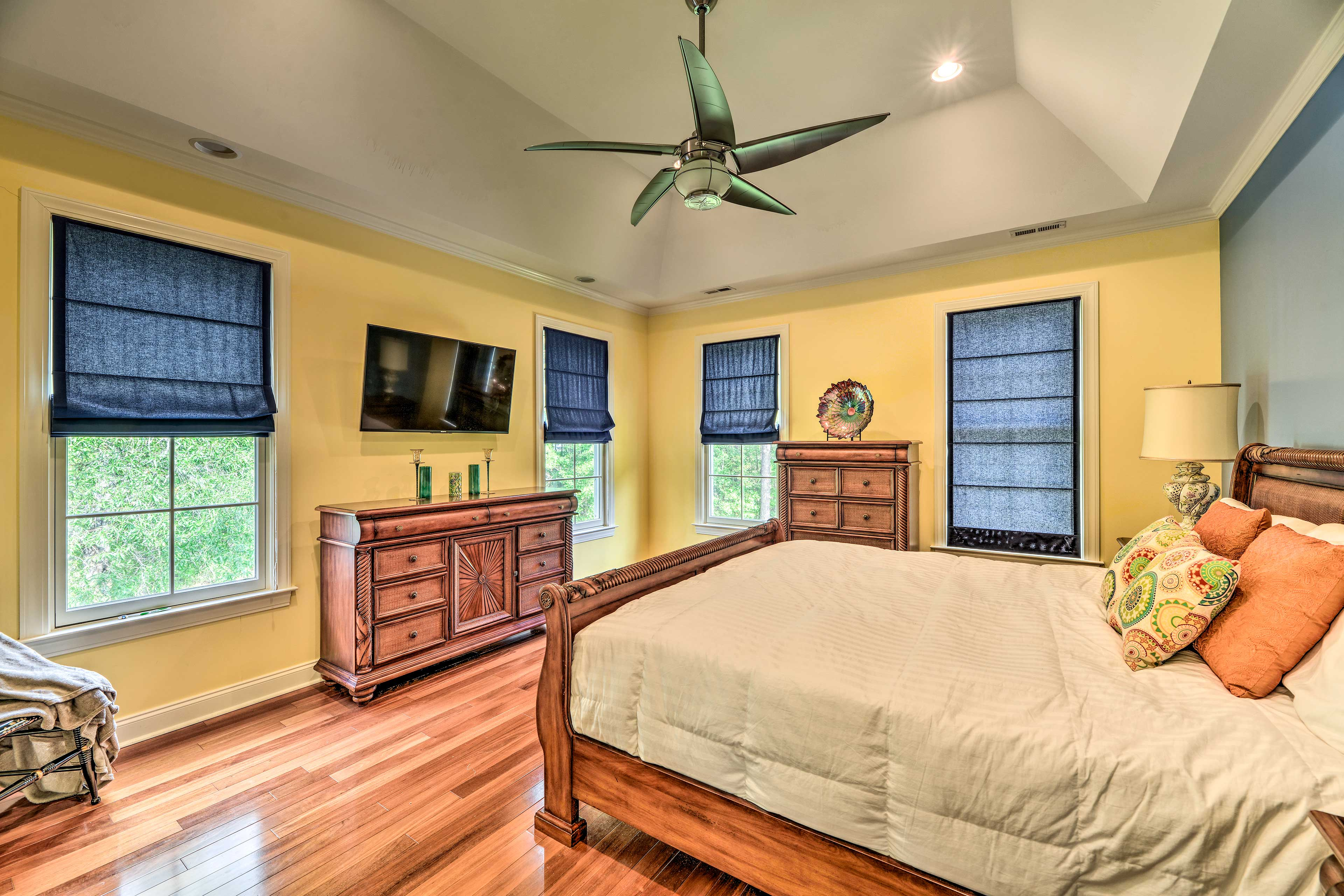 This bedroom also has a king bed.