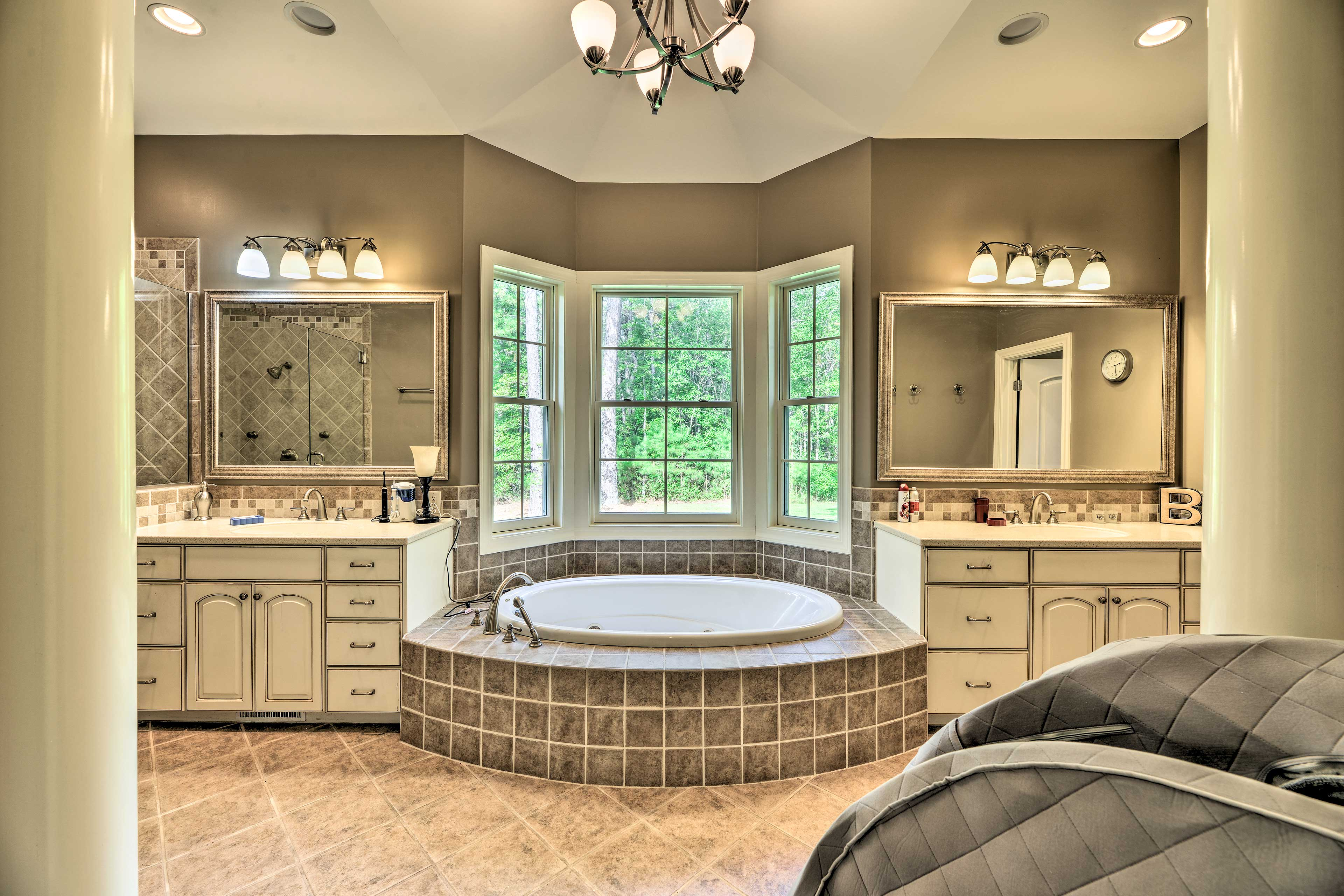 Soak your worries away in the jetted soaking tub in the en-suite bathroom.