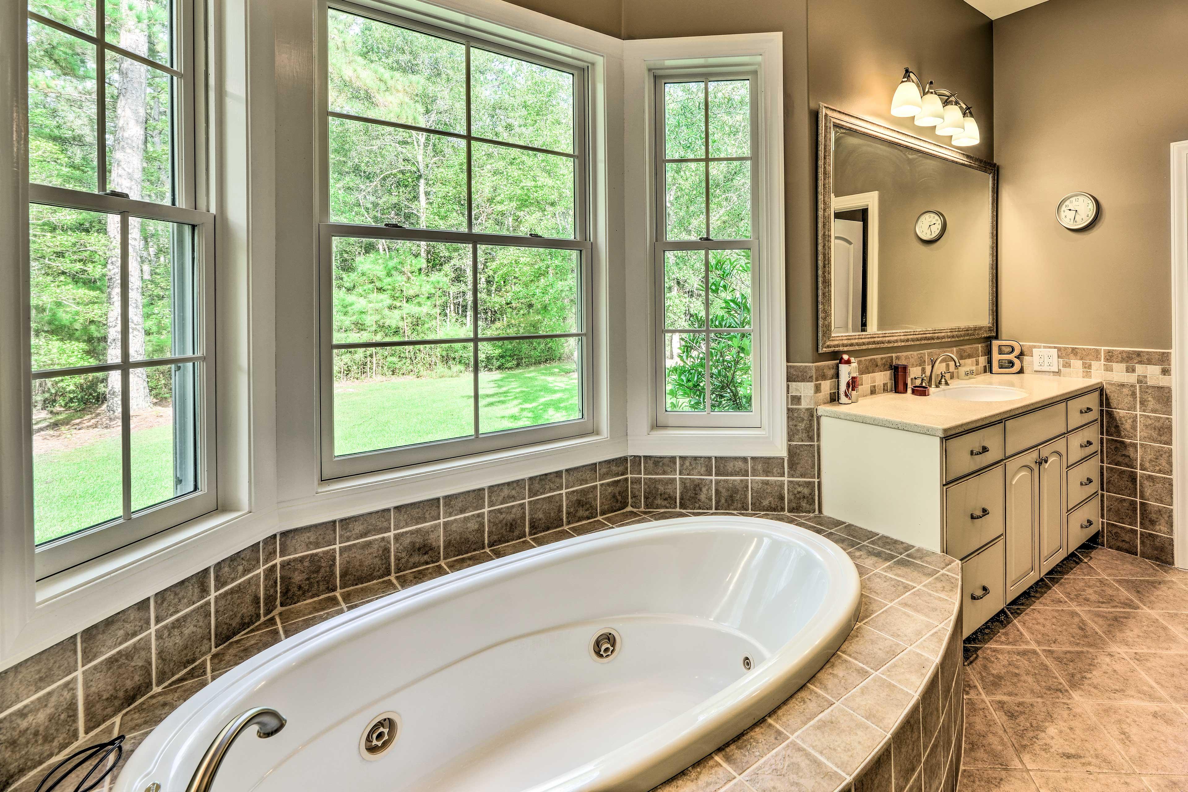 The bathroom has separate vanities to make getting ready easy!