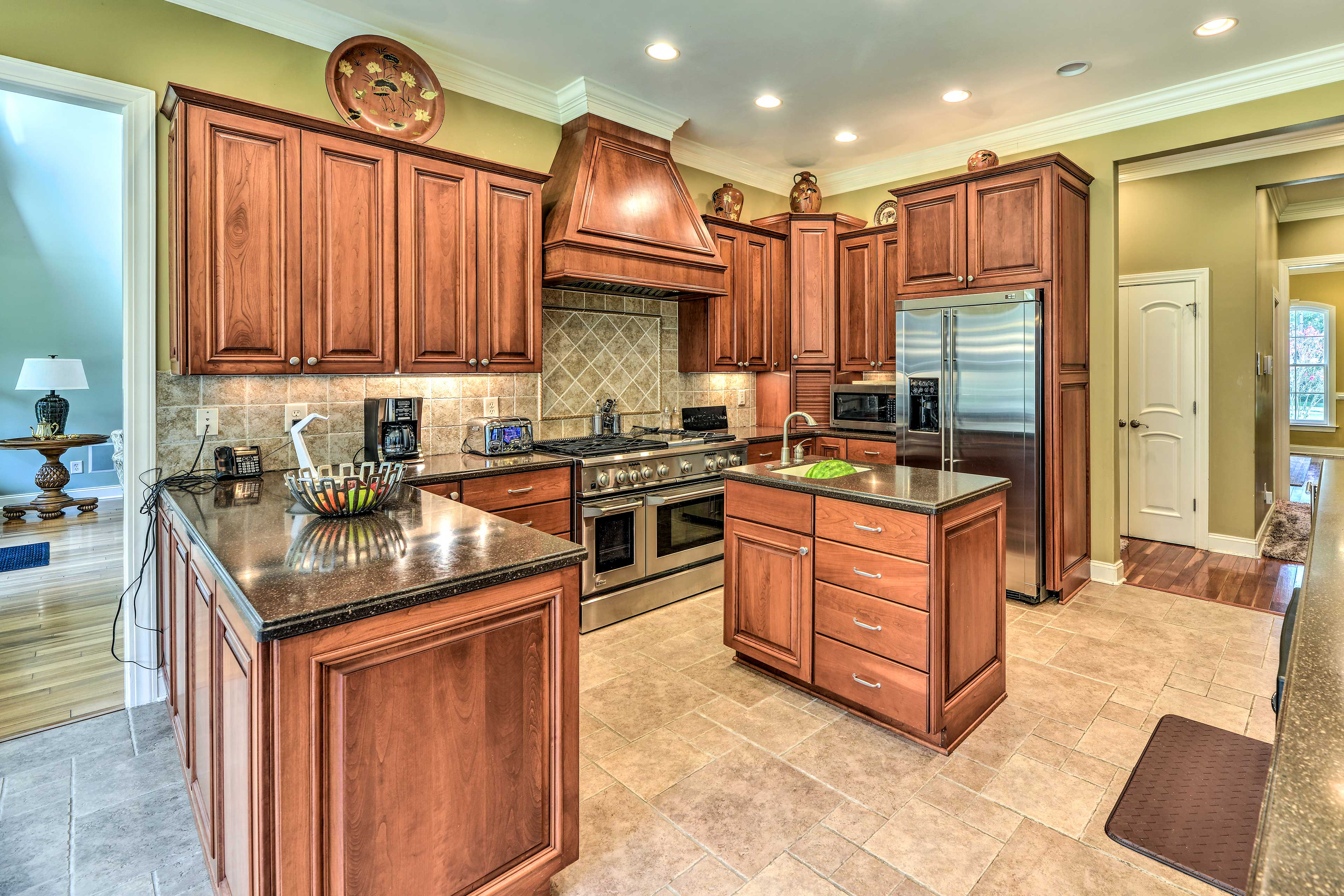 Head into the fully equipped kitchen to prepare delicious meals.