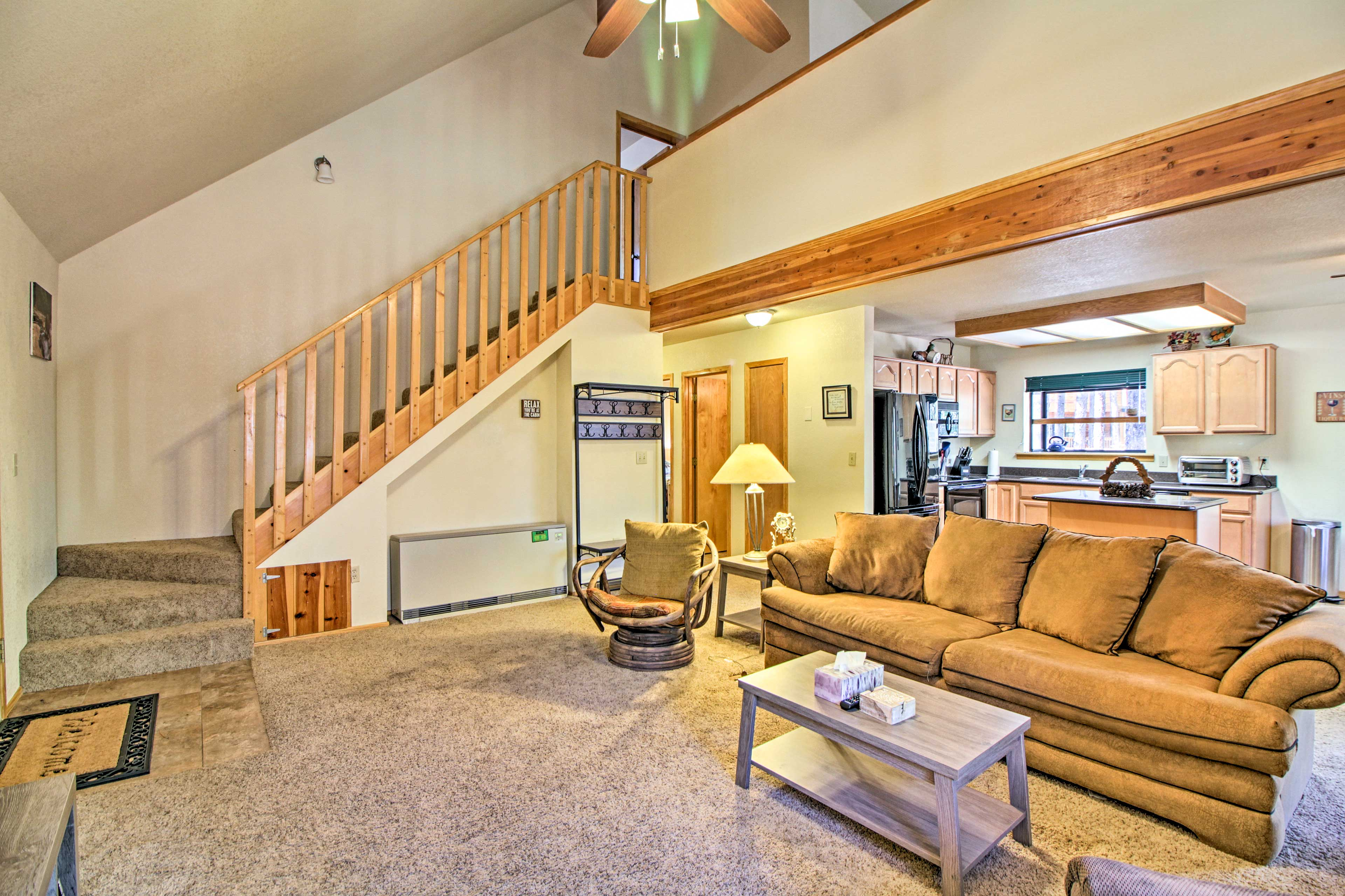 Stay connected with ease, thanks to the open layout and vaulted ceiling.