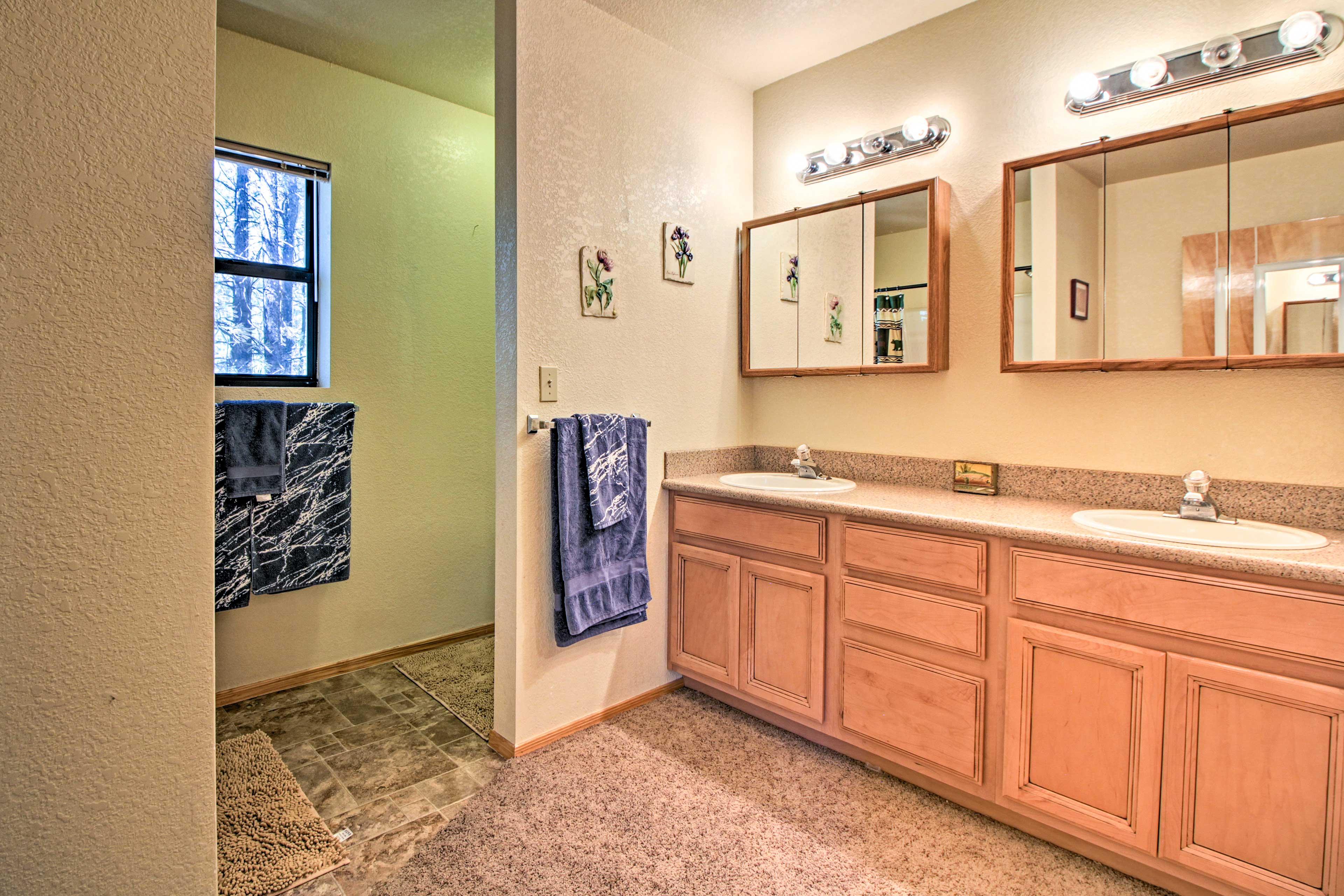 Two sinks make it easy for everyone to get cleaned up.