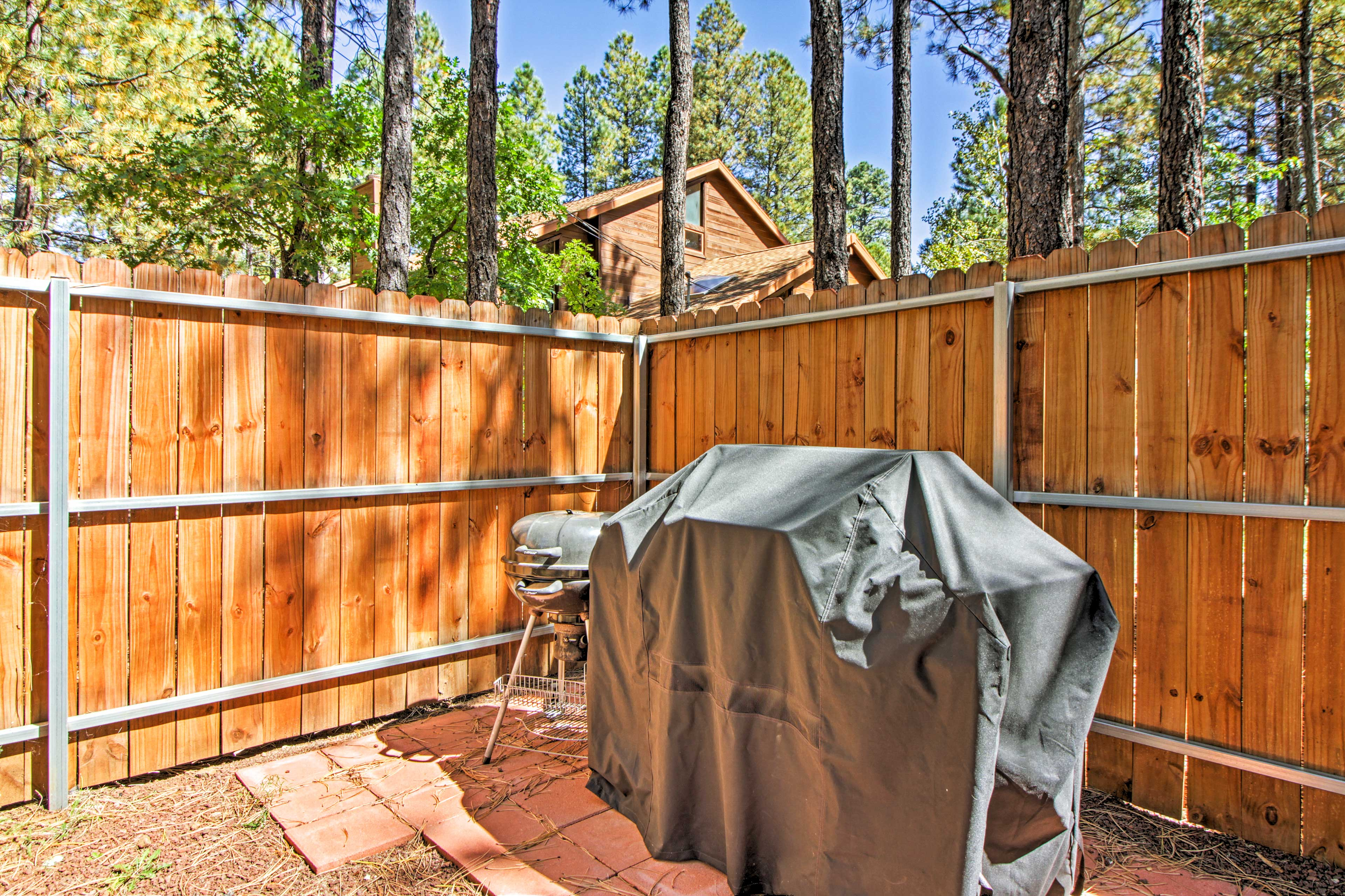 There's both a gas grill and a charcoal grill available for family barbecues.