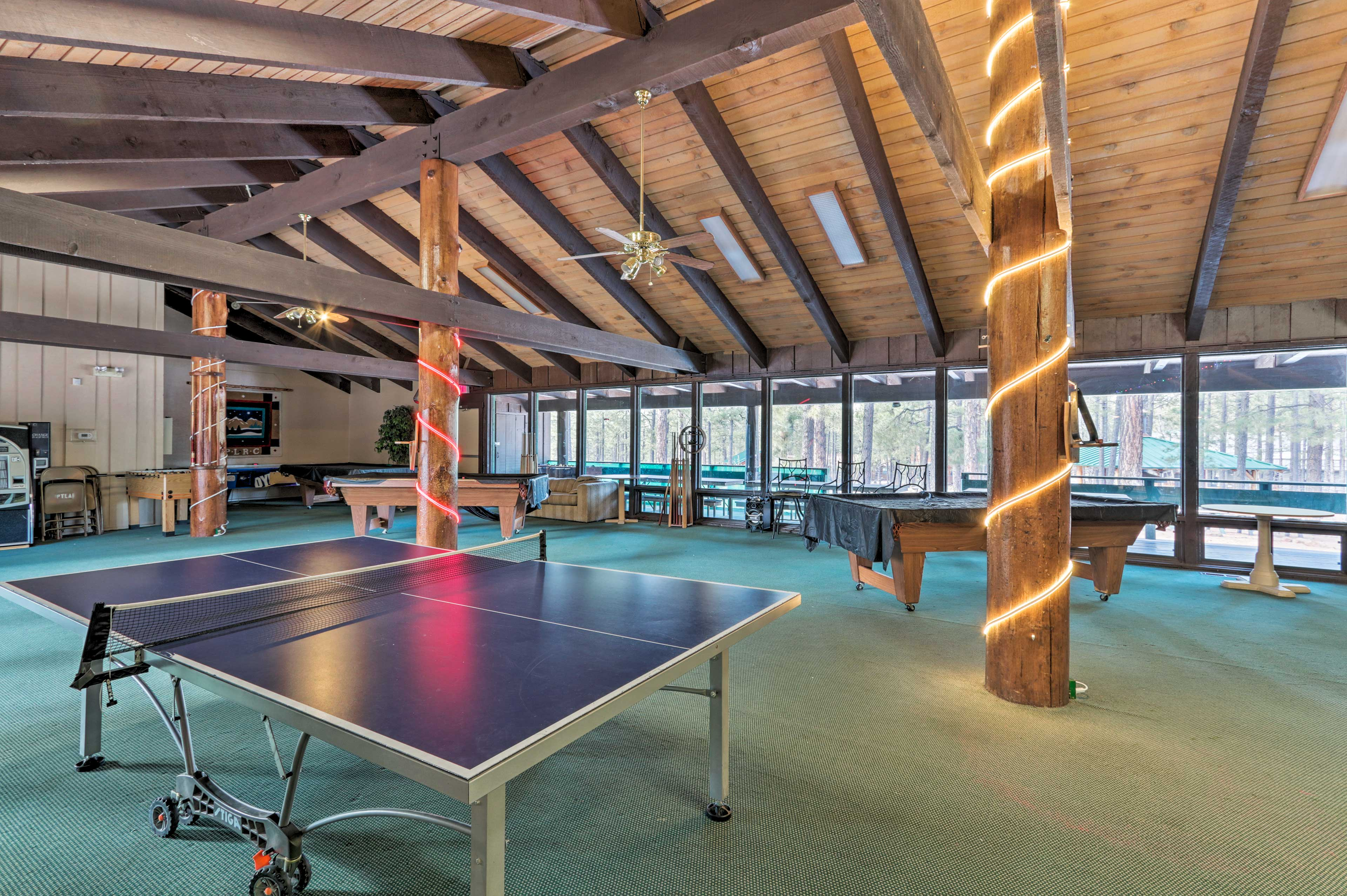 Inside, find ping pong, pool tables and panoramic views.