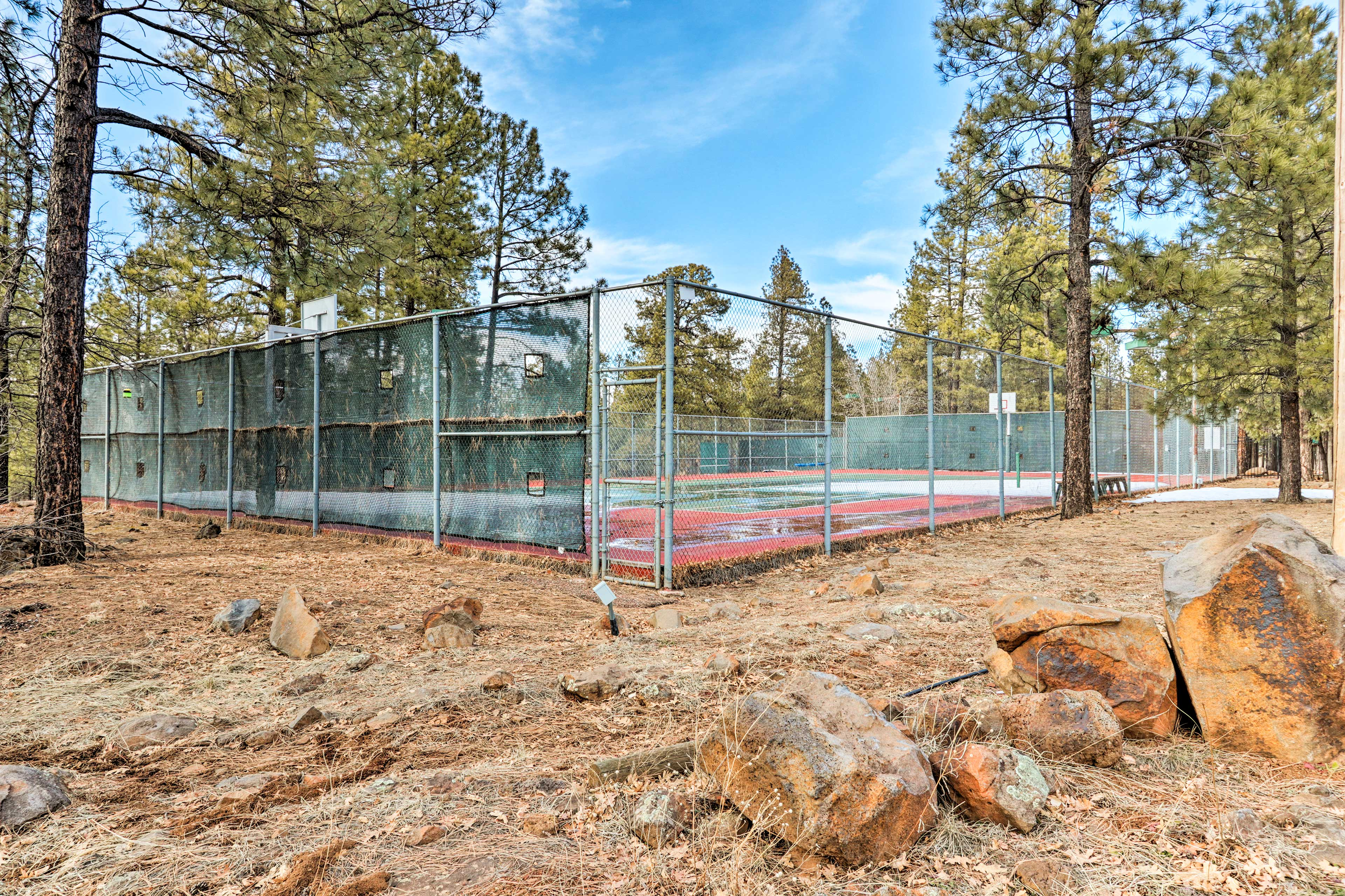 Perfect your serve and tennis skills on one of the available courts!