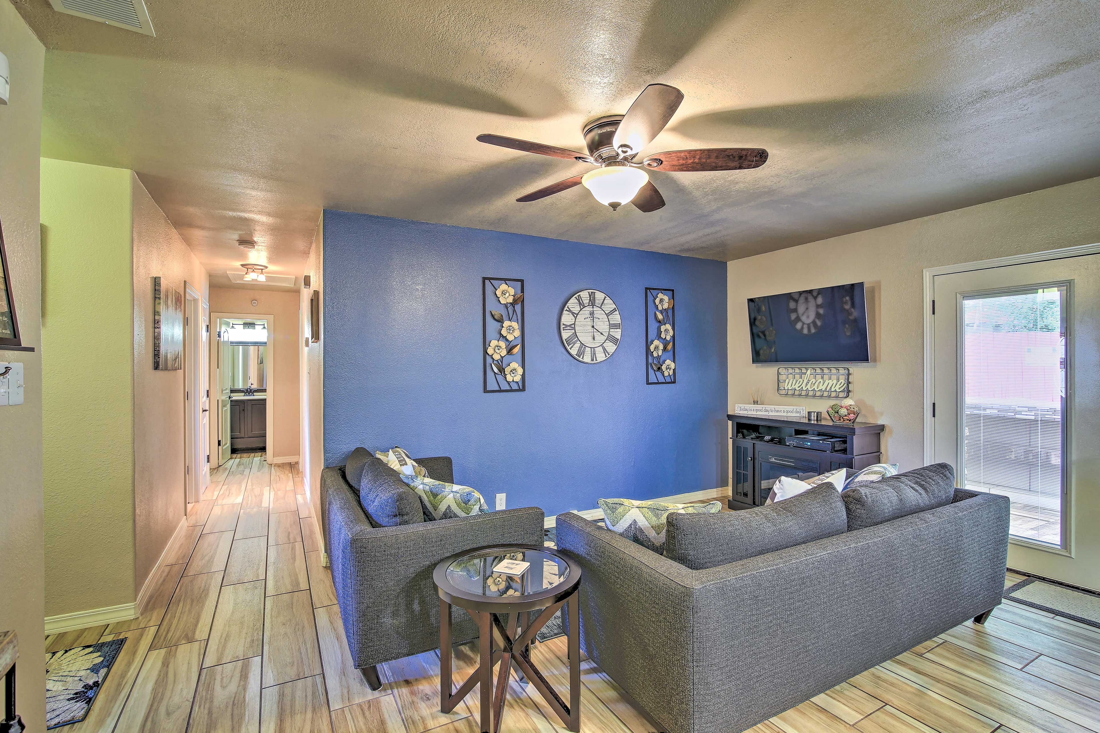 The vacation rental home boasts central A/C.
