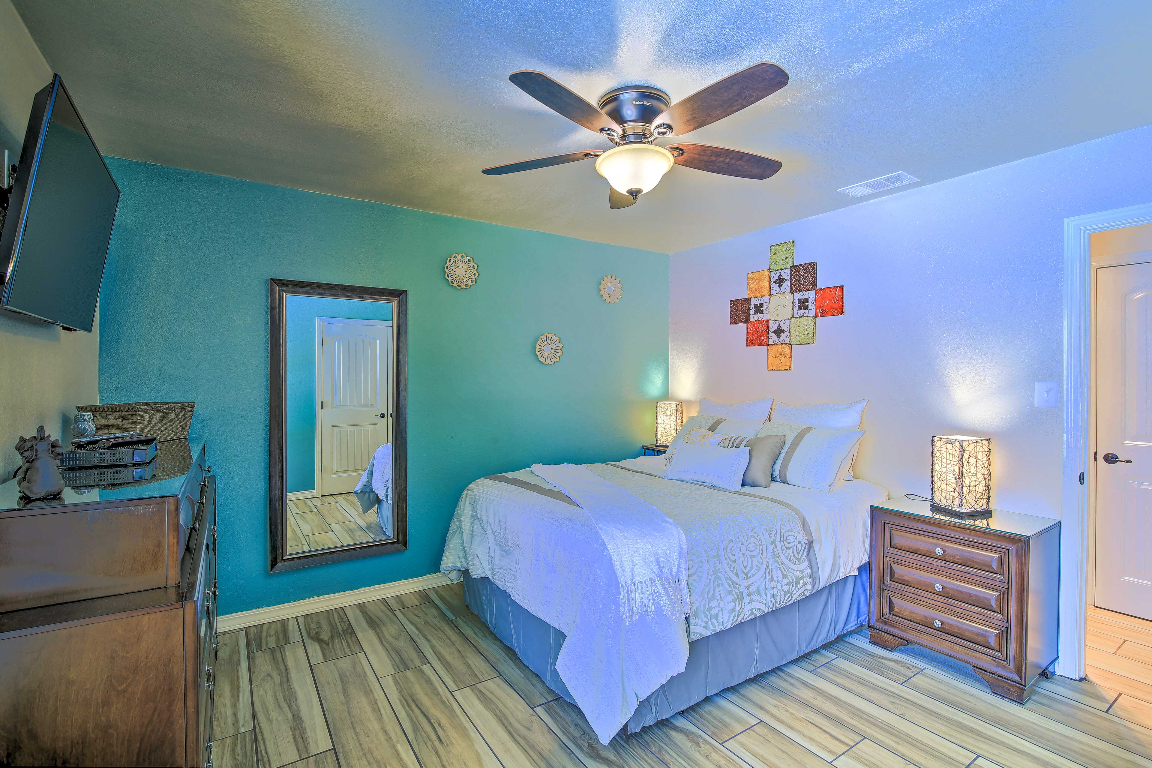 Two can claim the bright master bedroom.