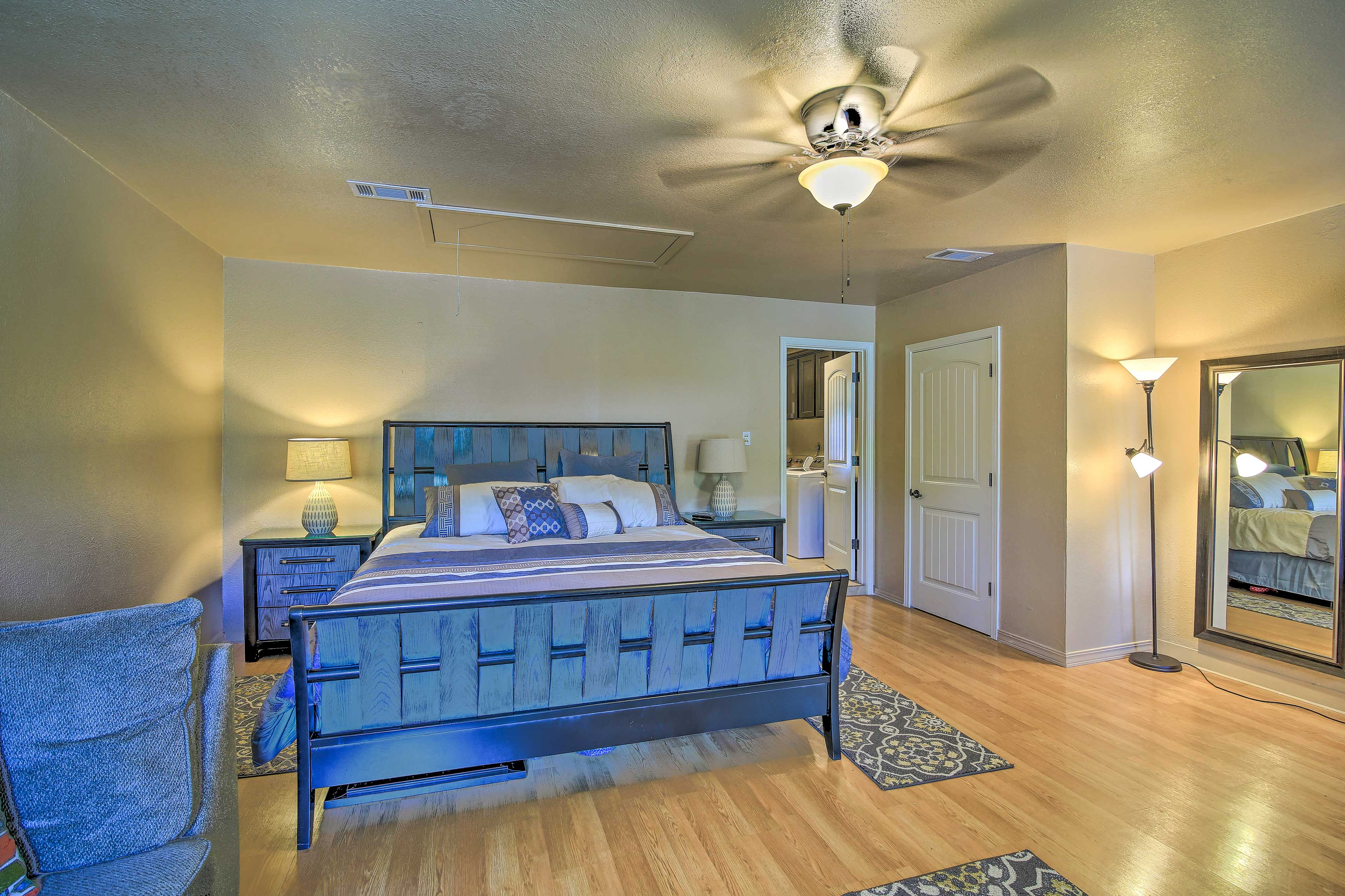 You'll find a lavish king bed in the second bedroom.