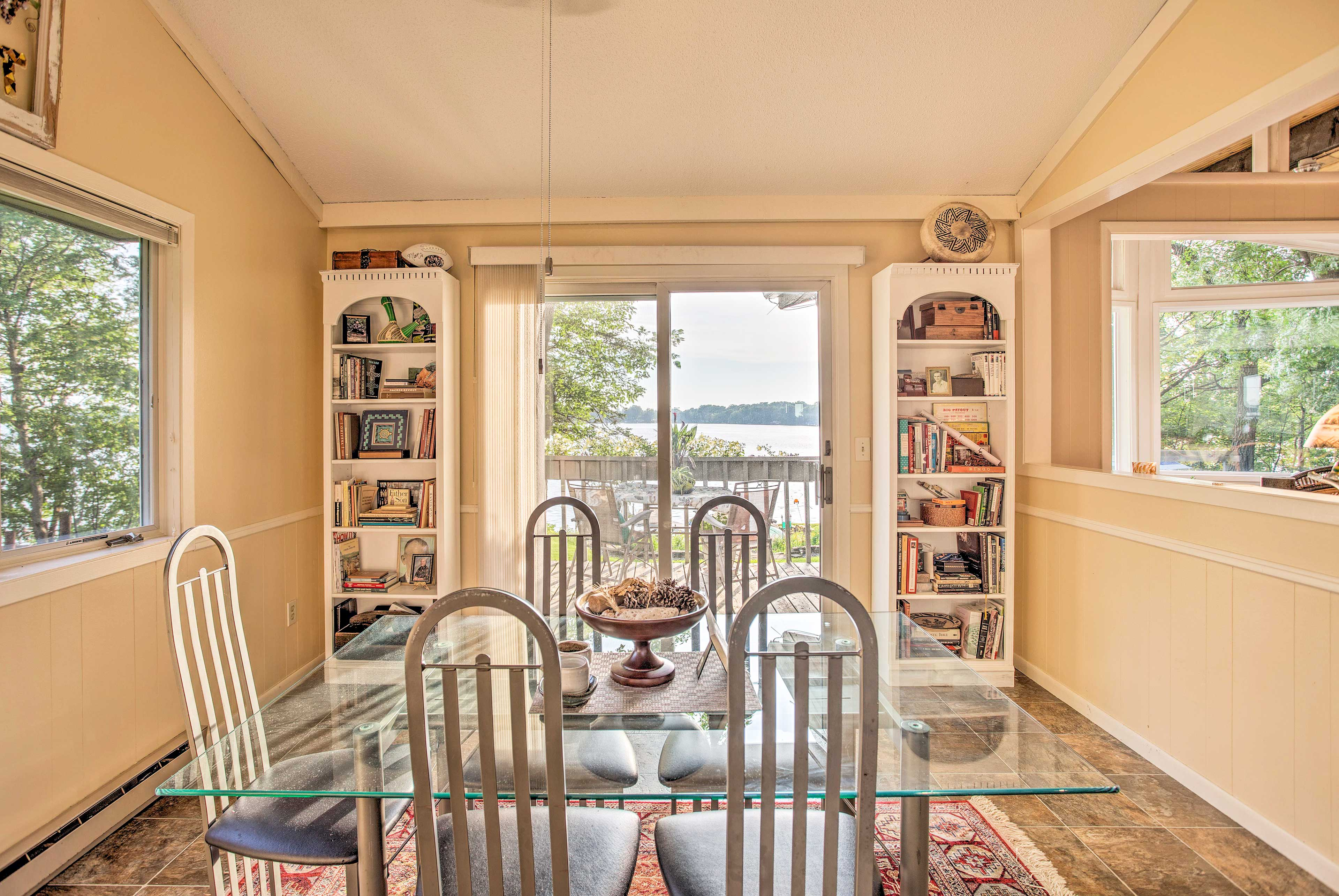 Make the most of the deck access and stocked, built-in shelves.