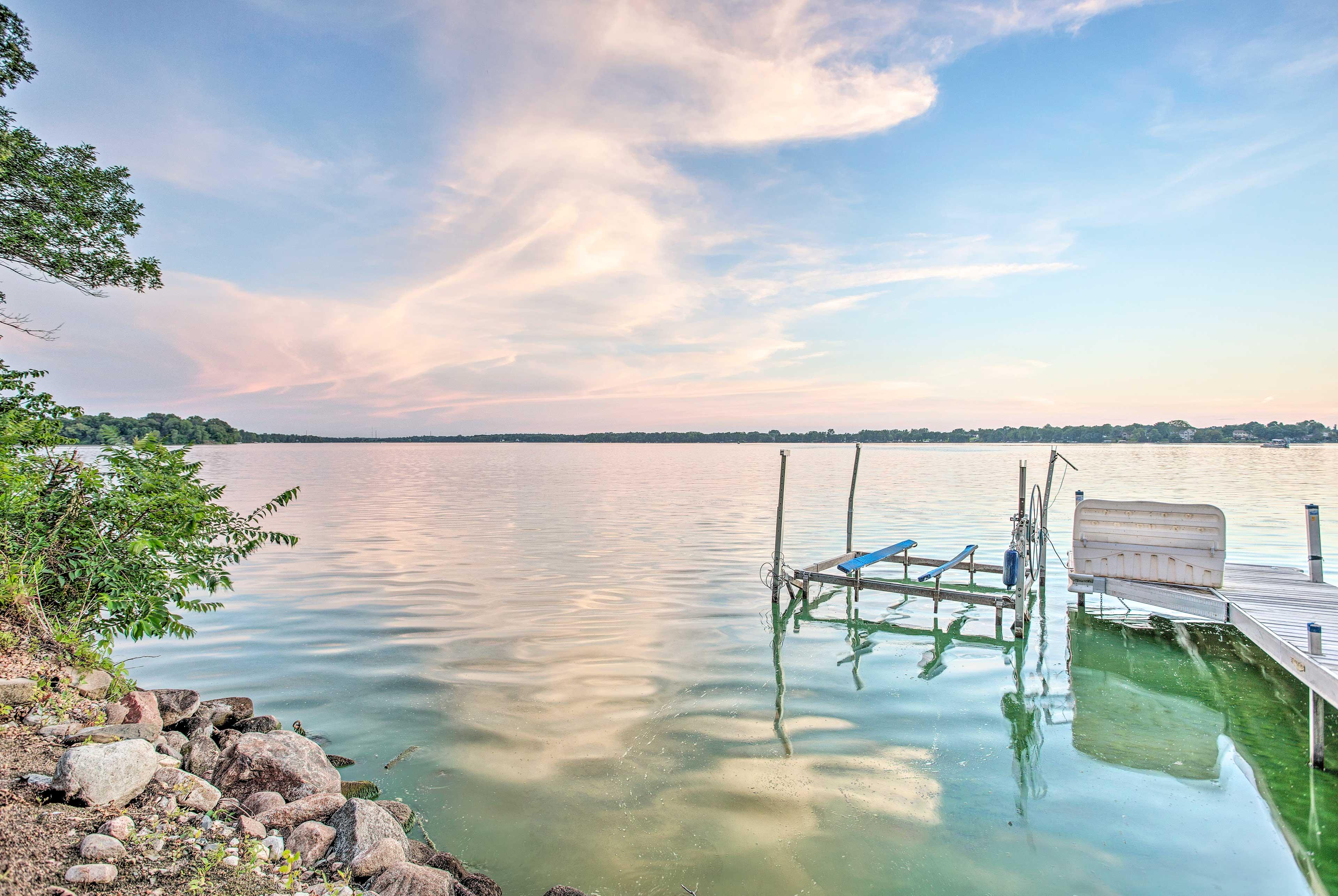 This waterfront Cedar Lake vacation rental boasts a dock.